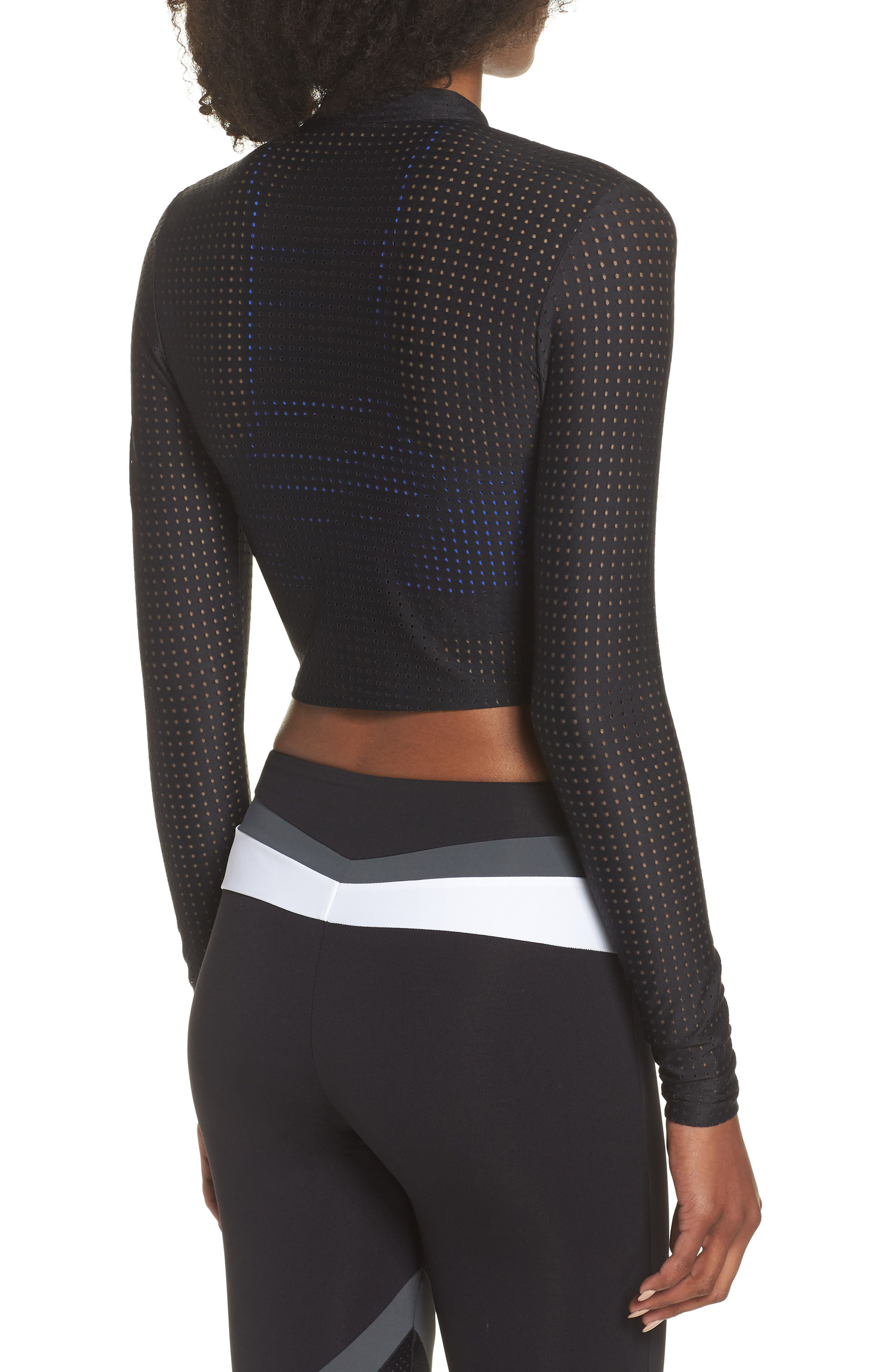 Perforated Crop Jacket,                             Alternate thumbnail 2, color,                             Black