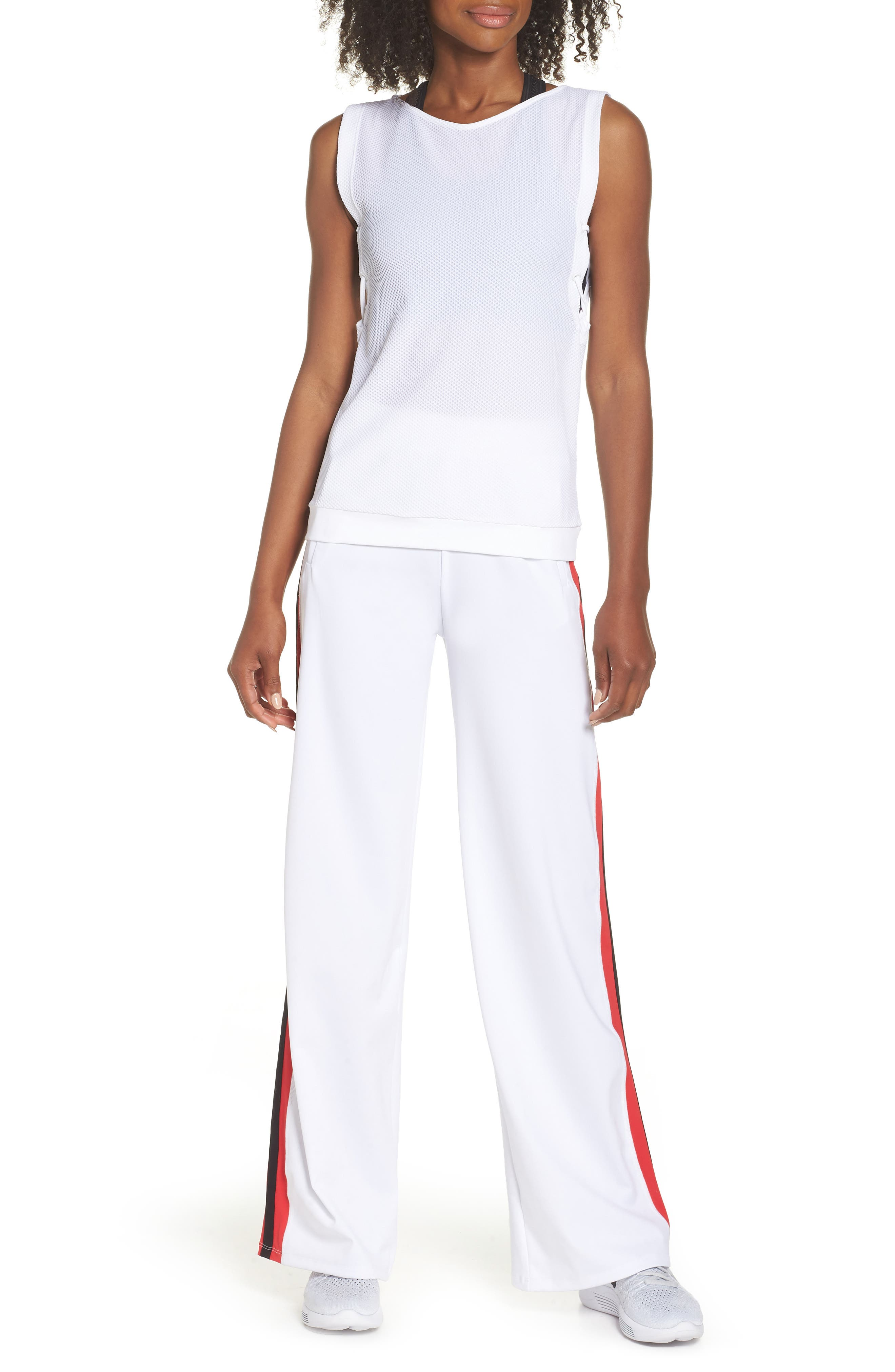 Wide Leg Track Pants,                             Alternate thumbnail 8, color,                             White/ Red/ Black