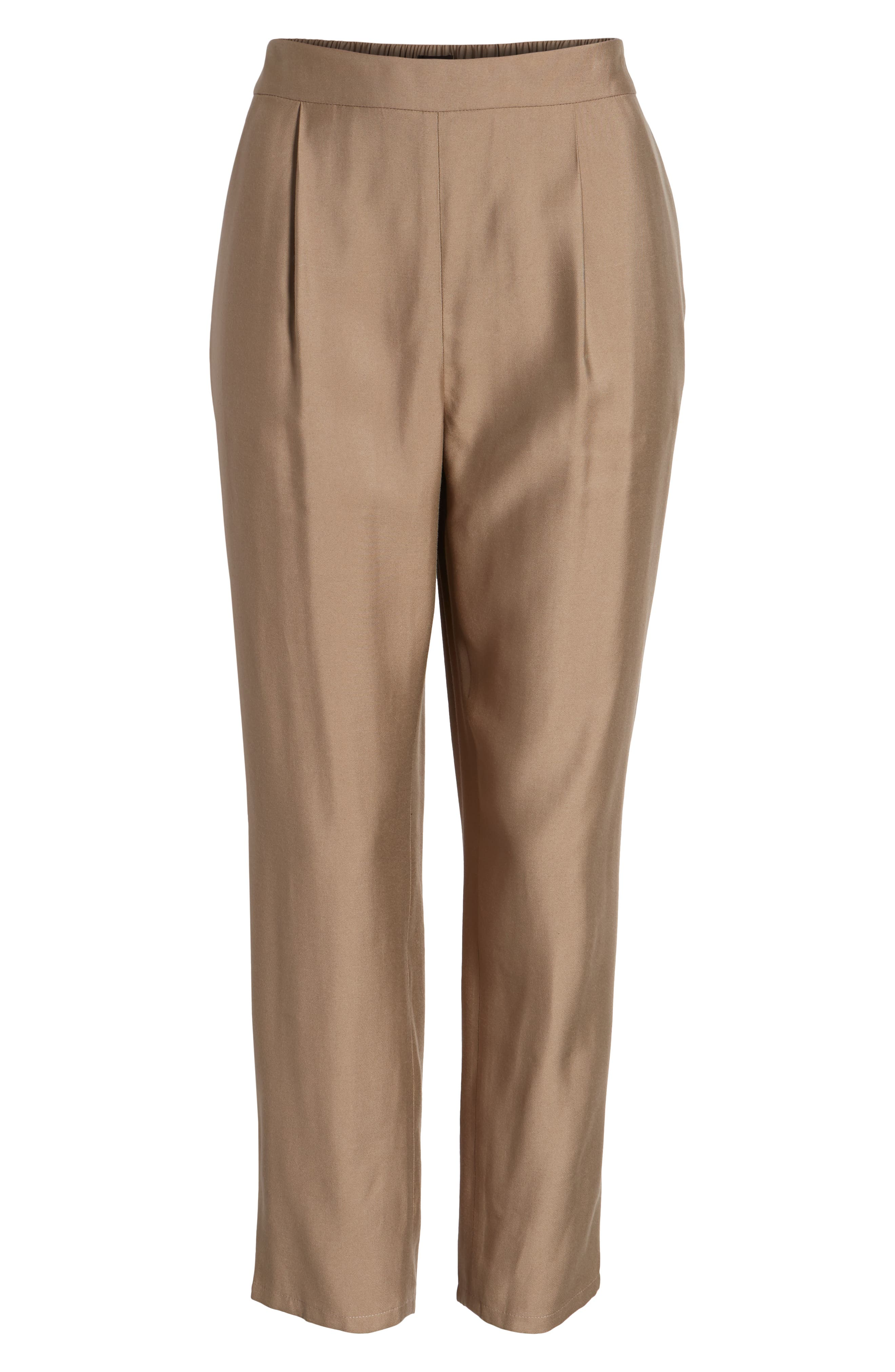 Pull-On Ankle Pants,                             Alternate thumbnail 6, color,                             Tan Greige