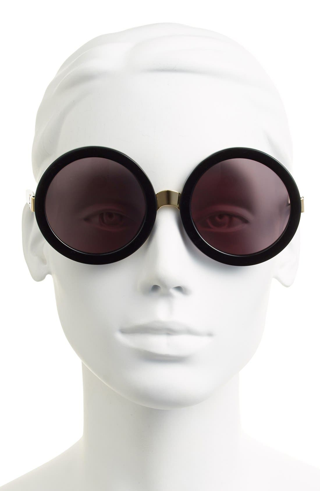 'Malibu' 56mm Round Sunglasses,                             Alternate thumbnail 2, color,                             Black/ Gold/ Grey Gradient