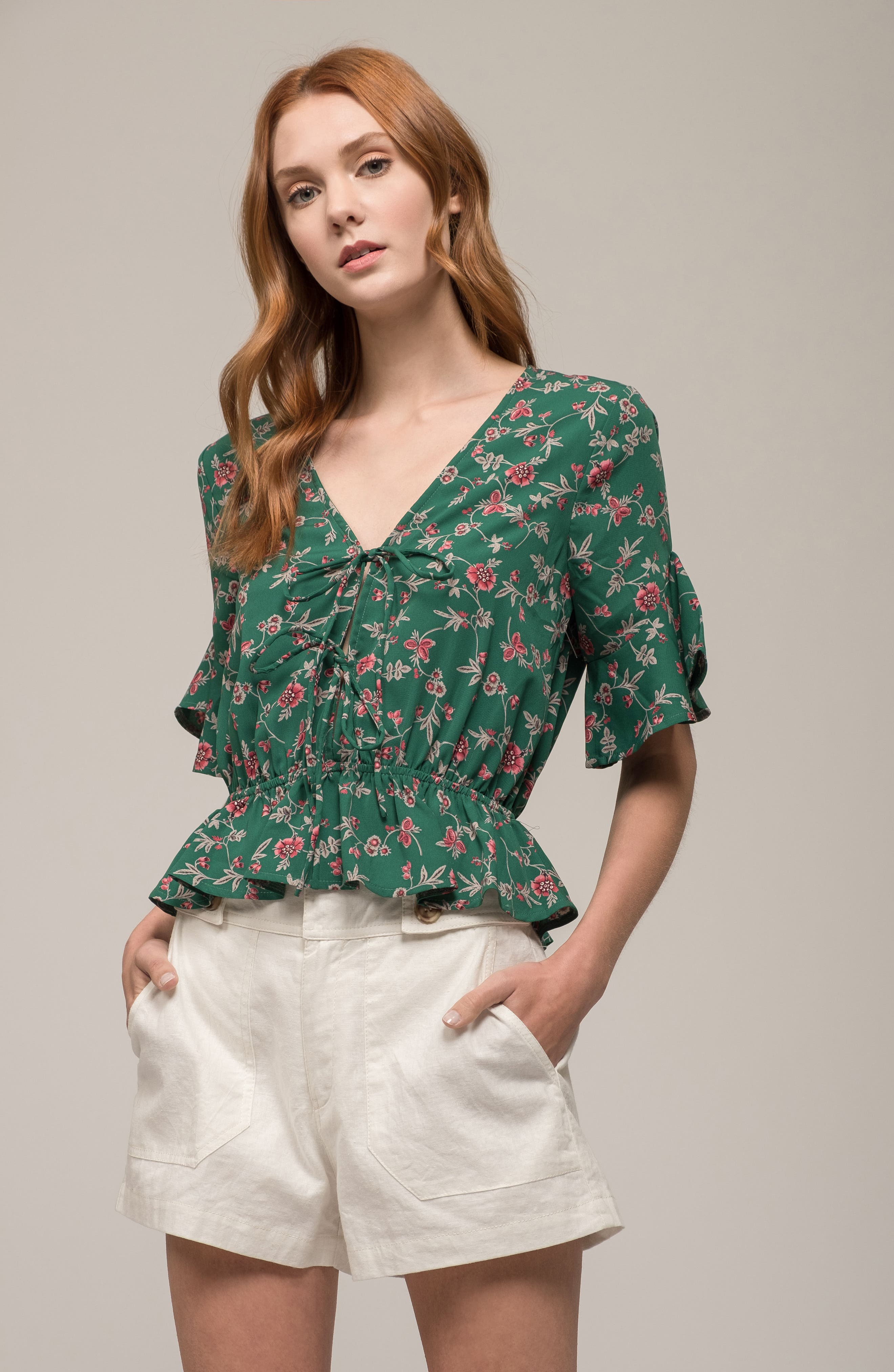 Floral Tie Front Peplum Top,                             Alternate thumbnail 2, color,                             Green/ Pink Floral