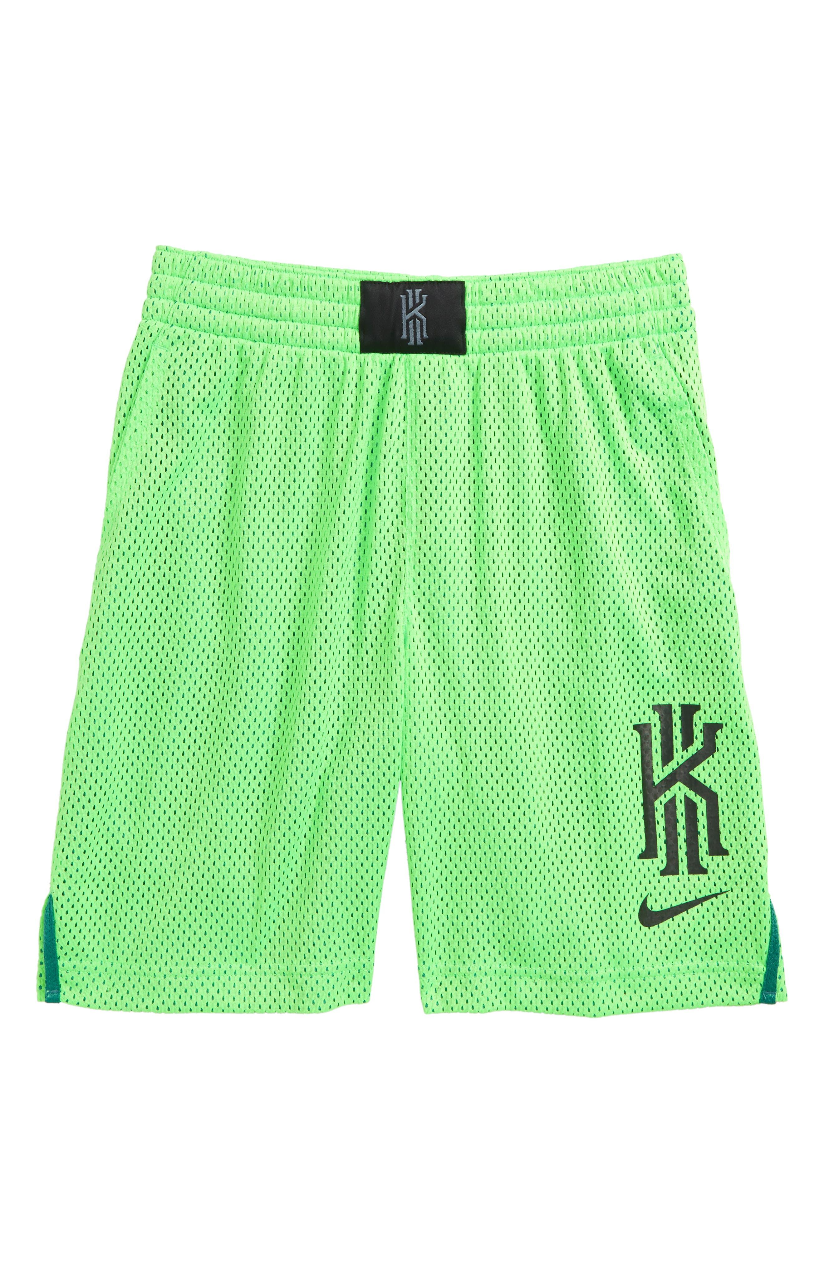 Dry Kyrie Mesh Shorts,                             Main thumbnail 1, color,                             Green Strike/ Black