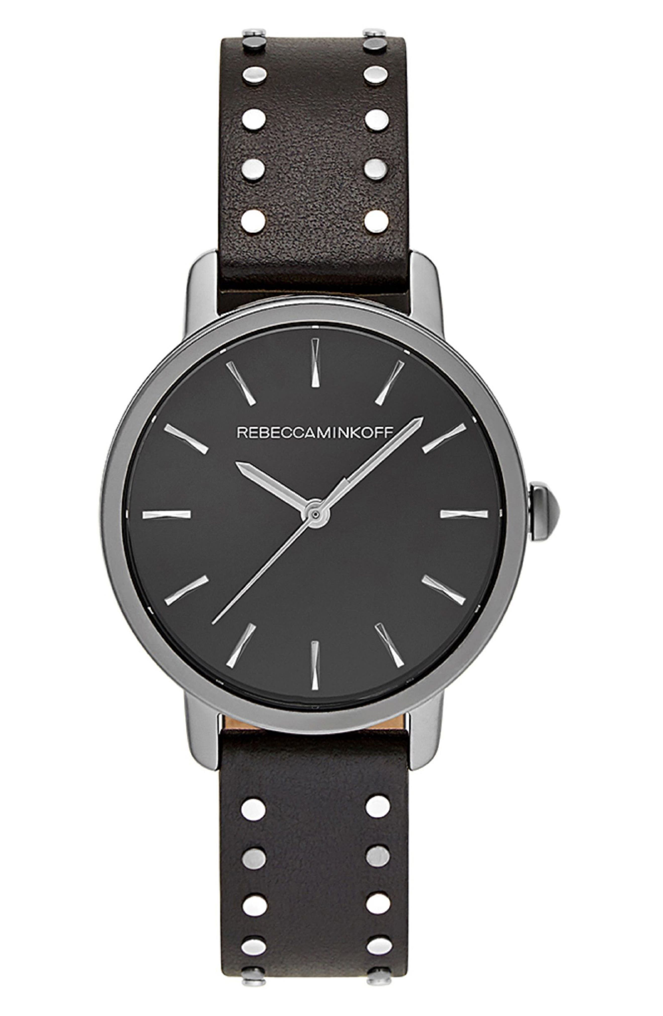BFFL Studded Leather Strap Watch, 36mm,                             Main thumbnail 1, color,                             Black/ Grey