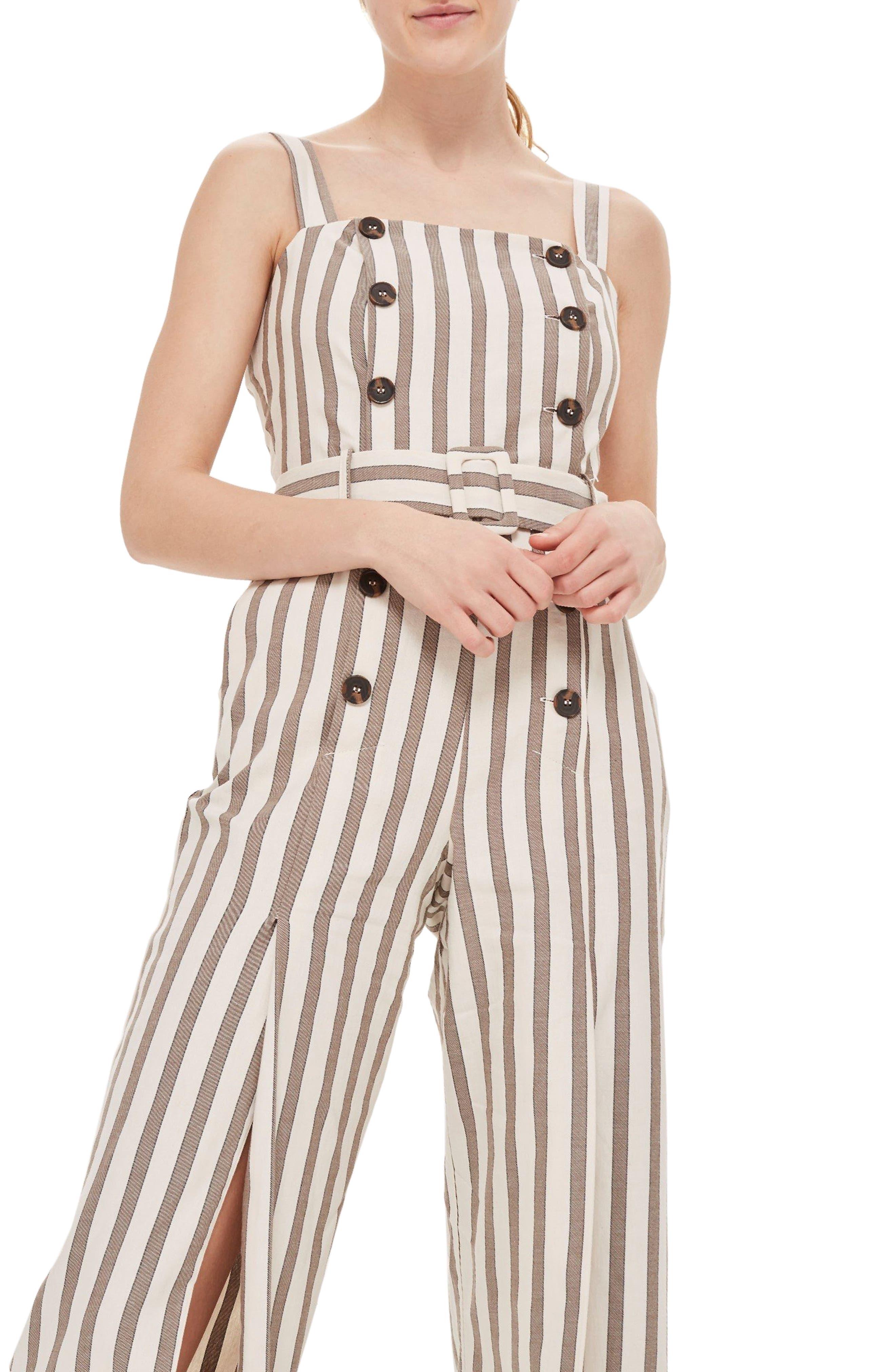 Button Stripe Cropped Jumpsuit,                             Alternate thumbnail 3, color,                             Light Brown Multi