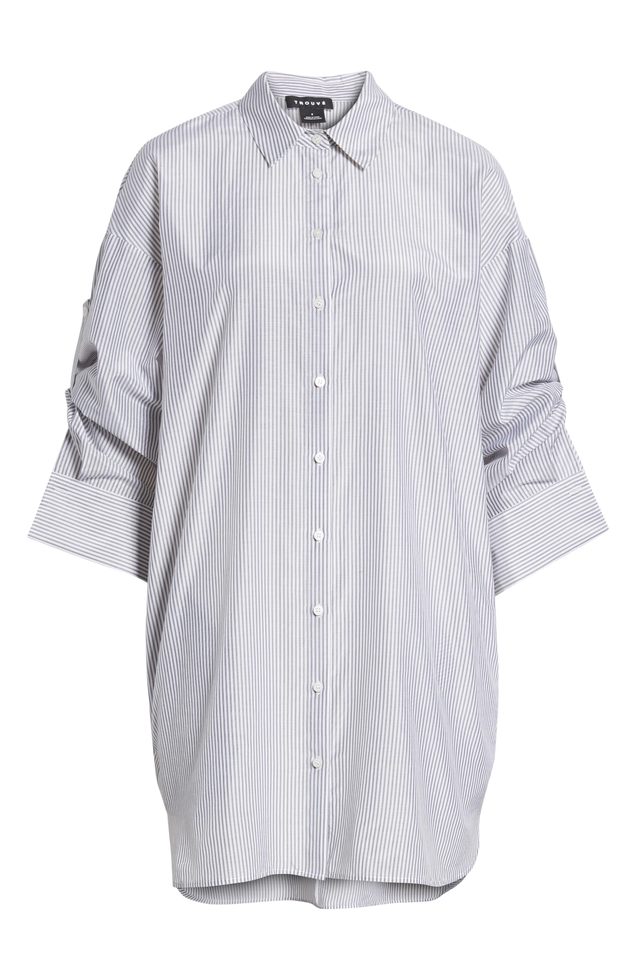 Stripe Cotton & Silk Shirtdress,                             Alternate thumbnail 7, color,                             White- Grey Even Stripe