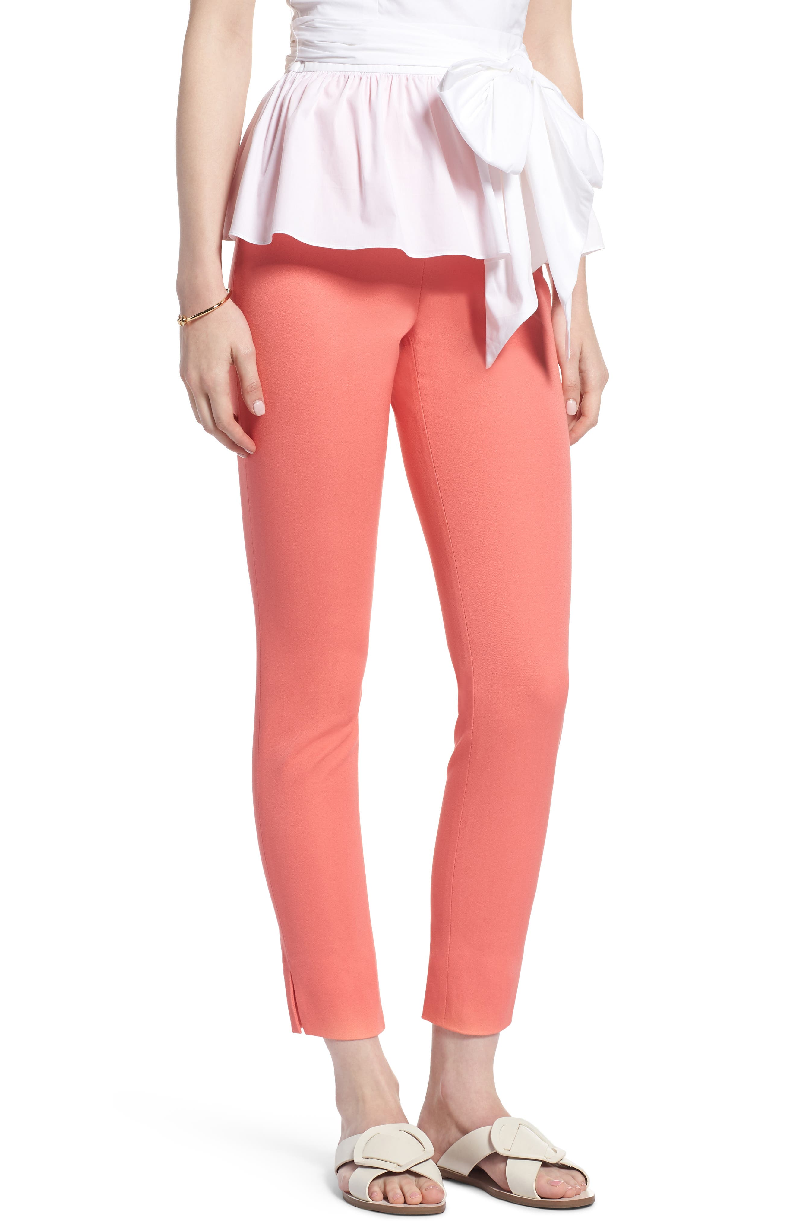 Skinny Stretch Pants,                         Main,                         color, Coral Sugar