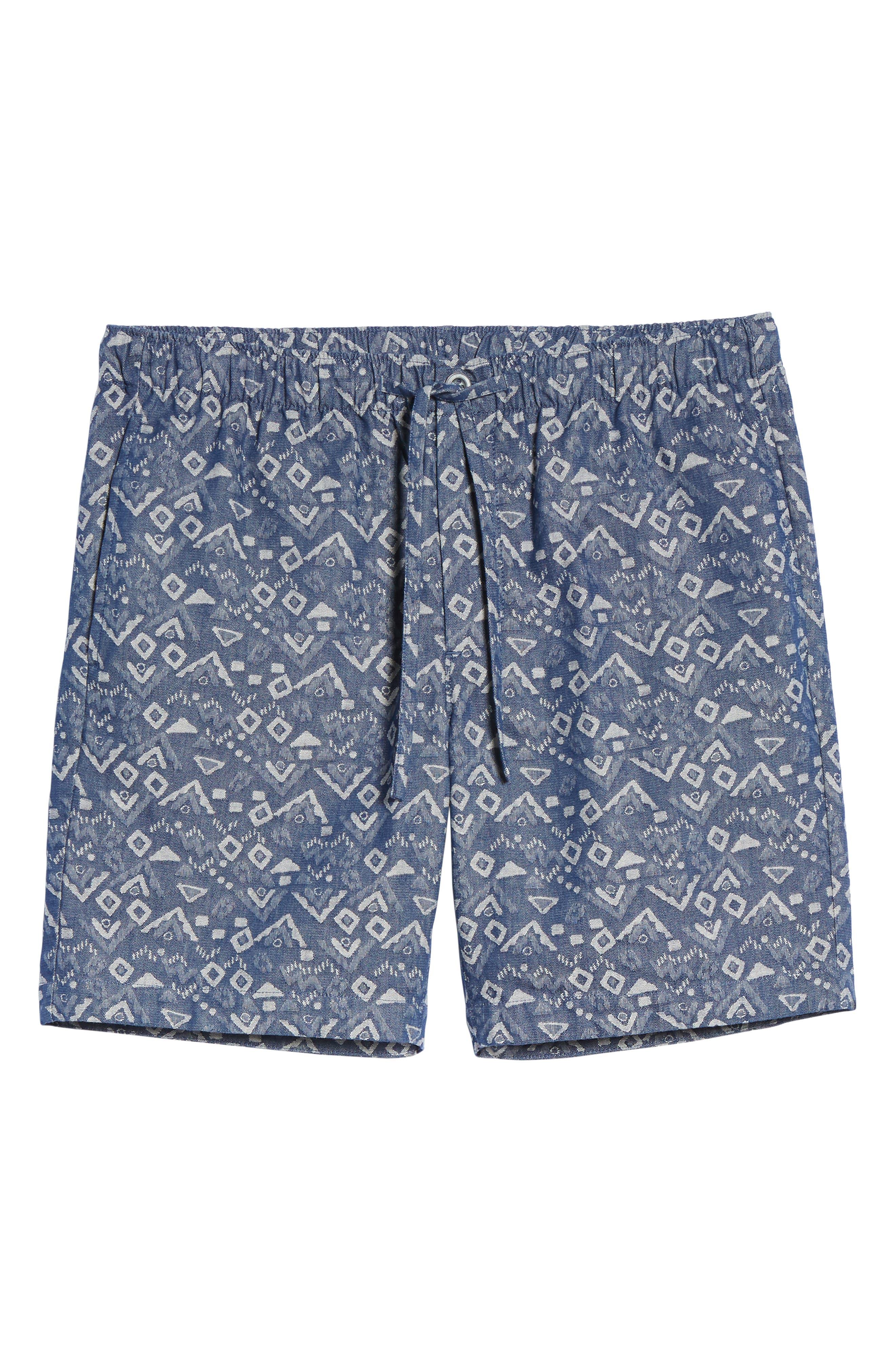 Slim Fit Print Beach Shorts,                             Alternate thumbnail 6, color,                             Triangles Jacquard