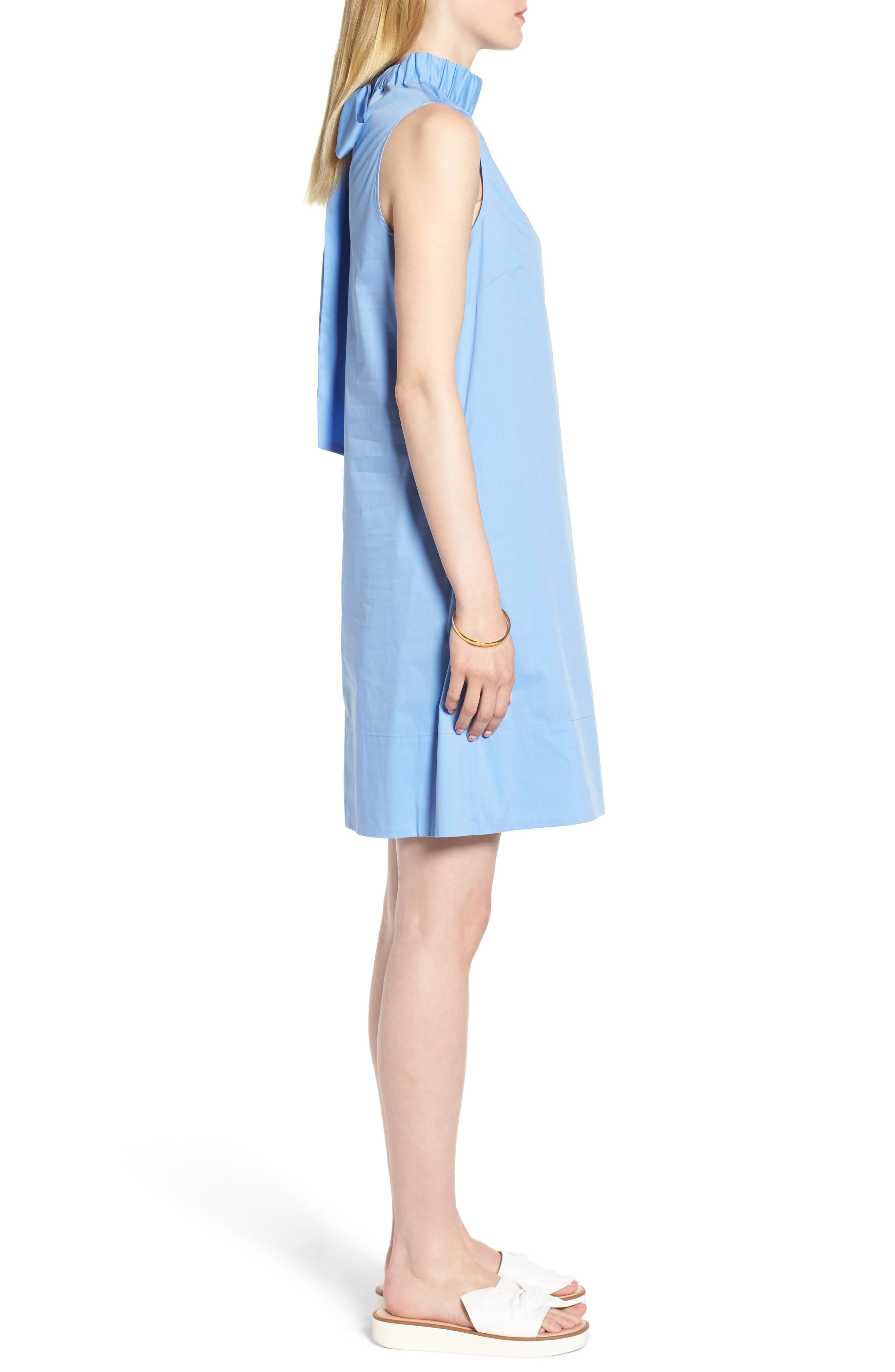 Stretch Cotton Poplin Shift Dress,                             Alternate thumbnail 3, color,                             Blue Cornflower