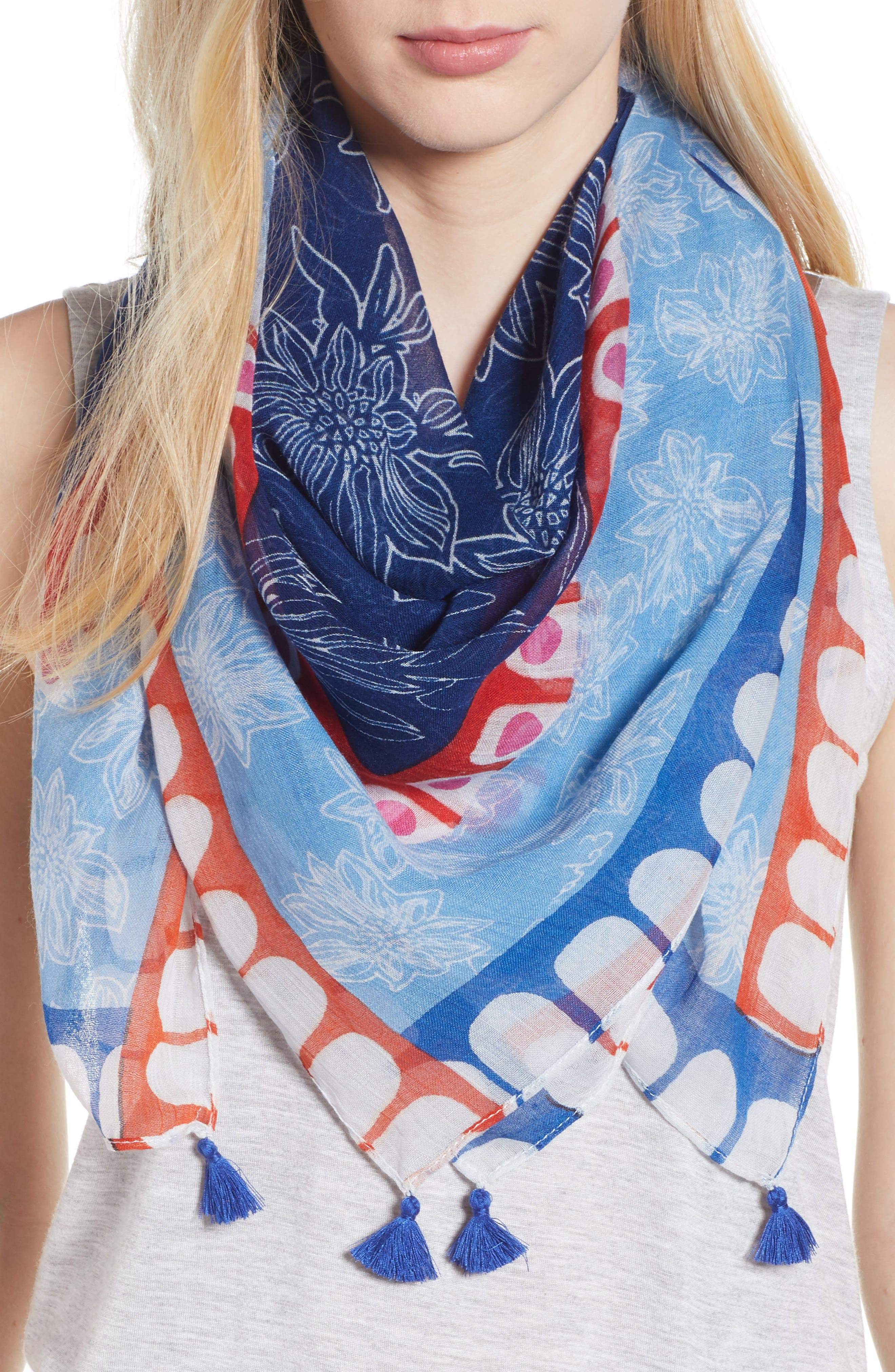 Deloraine Square Scarf,                             Main thumbnail 1, color,                             Navy