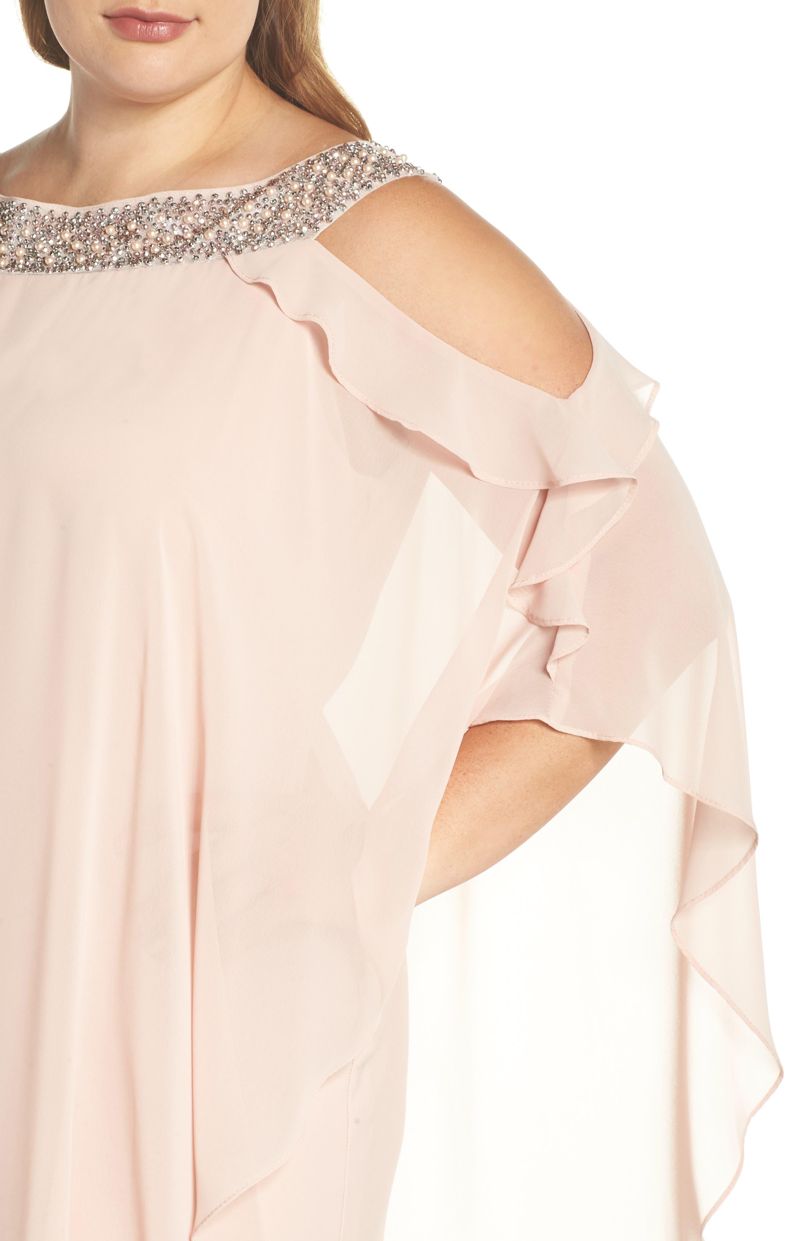 Embellished Neck Cold Shoulder Overlay Chiffon Shift Dress,                             Alternate thumbnail 4, color,                             Blush