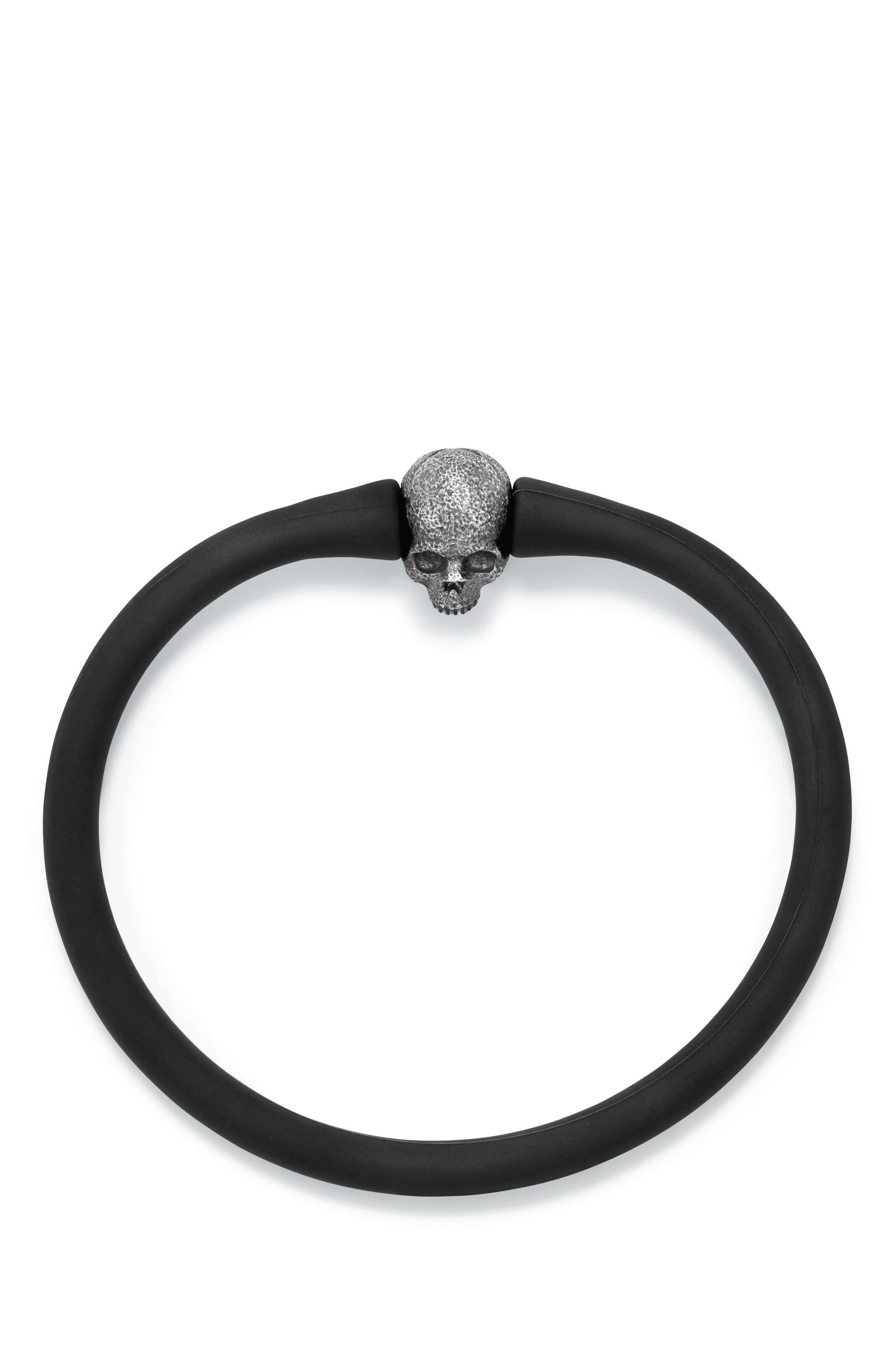 Skull Bead Bracelet,                             Alternate thumbnail 2, color,                             Silver
