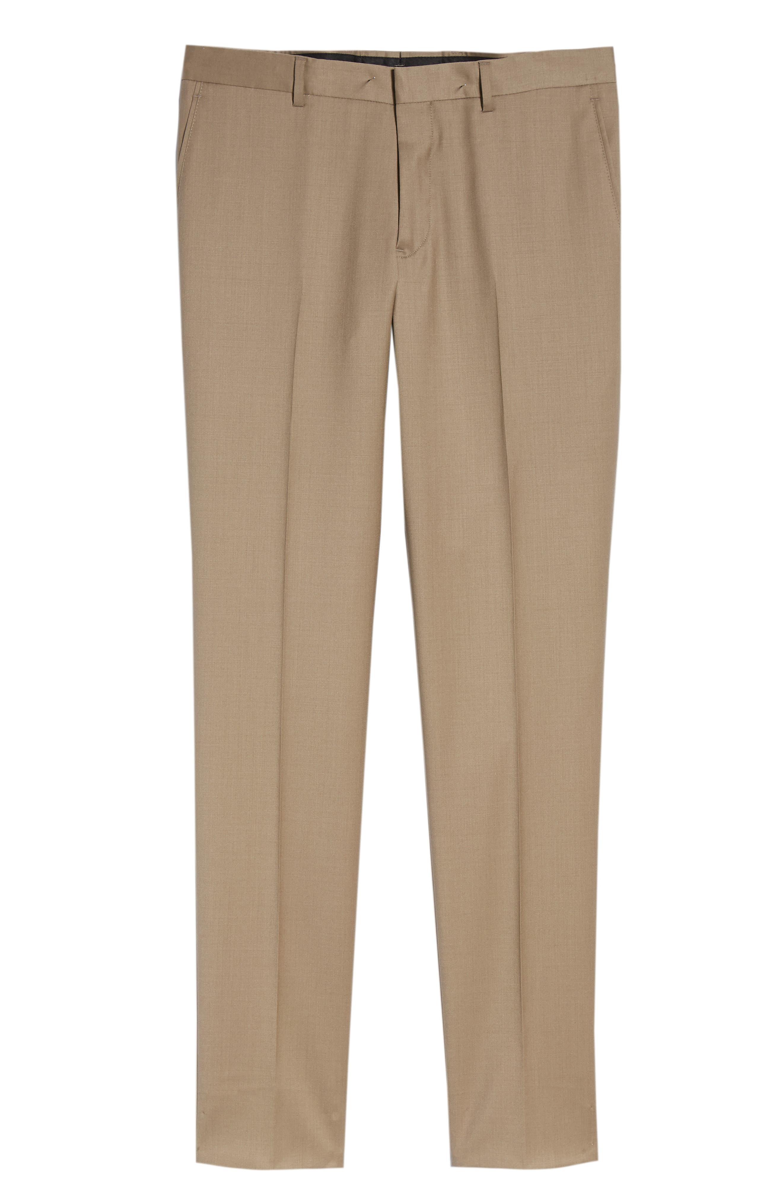 Flat Front Tech-Smart Extra Trim Trousers,                             Alternate thumbnail 4, color,                             Tan