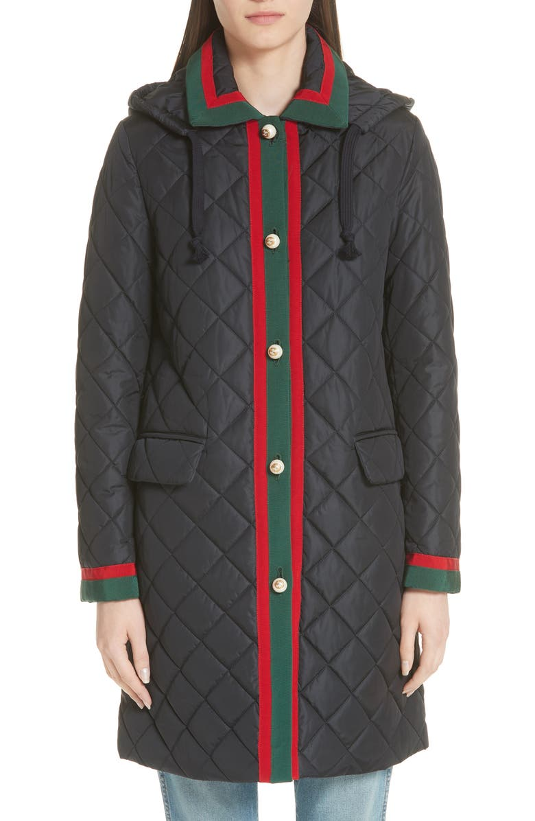 Web Detail Quilted Coat