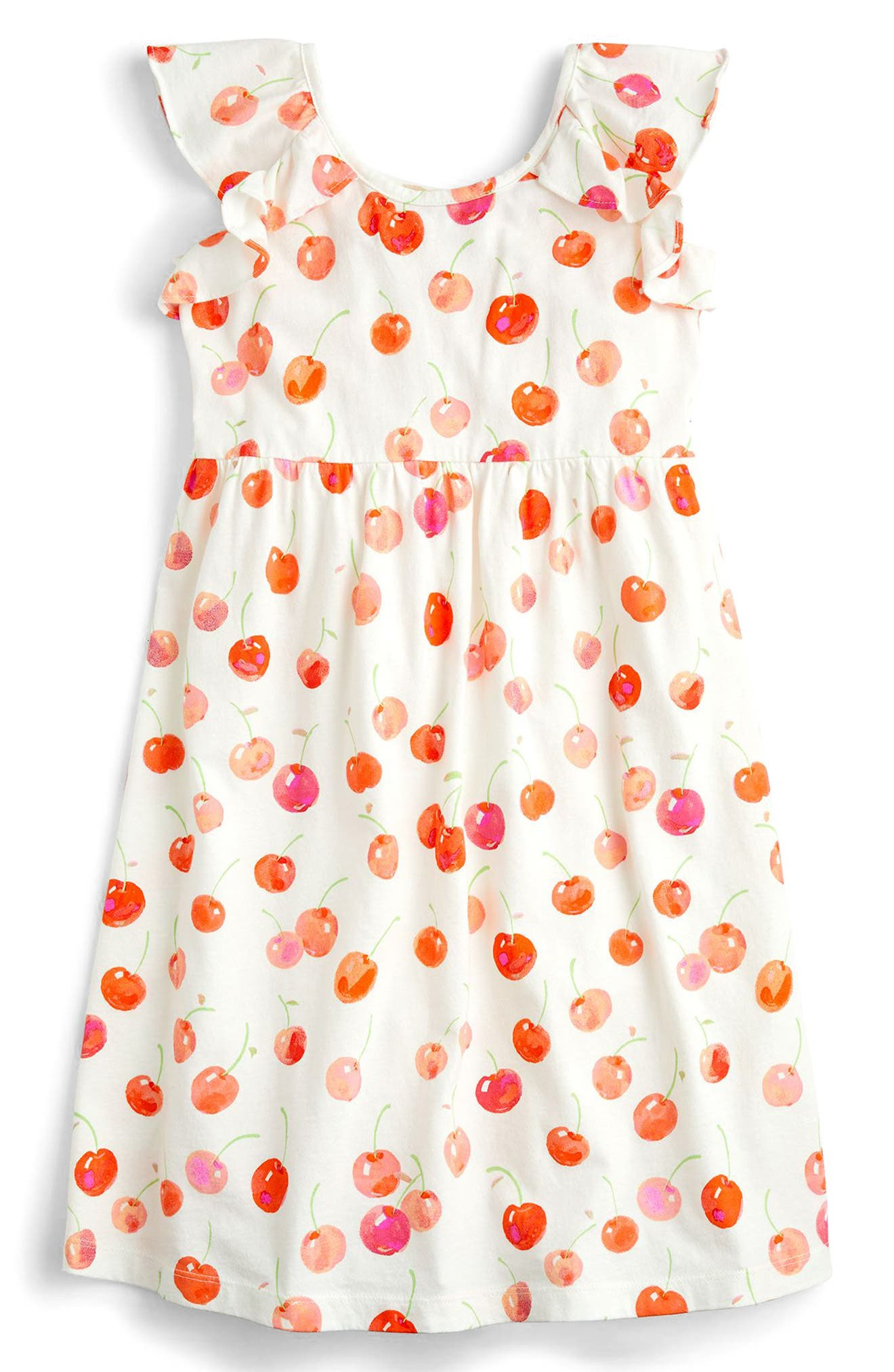 crewcuts by J. Crew Maia Cherry Print Flutter Sleeve Dress (Toddler Girls, Little Girls & Big Girls)