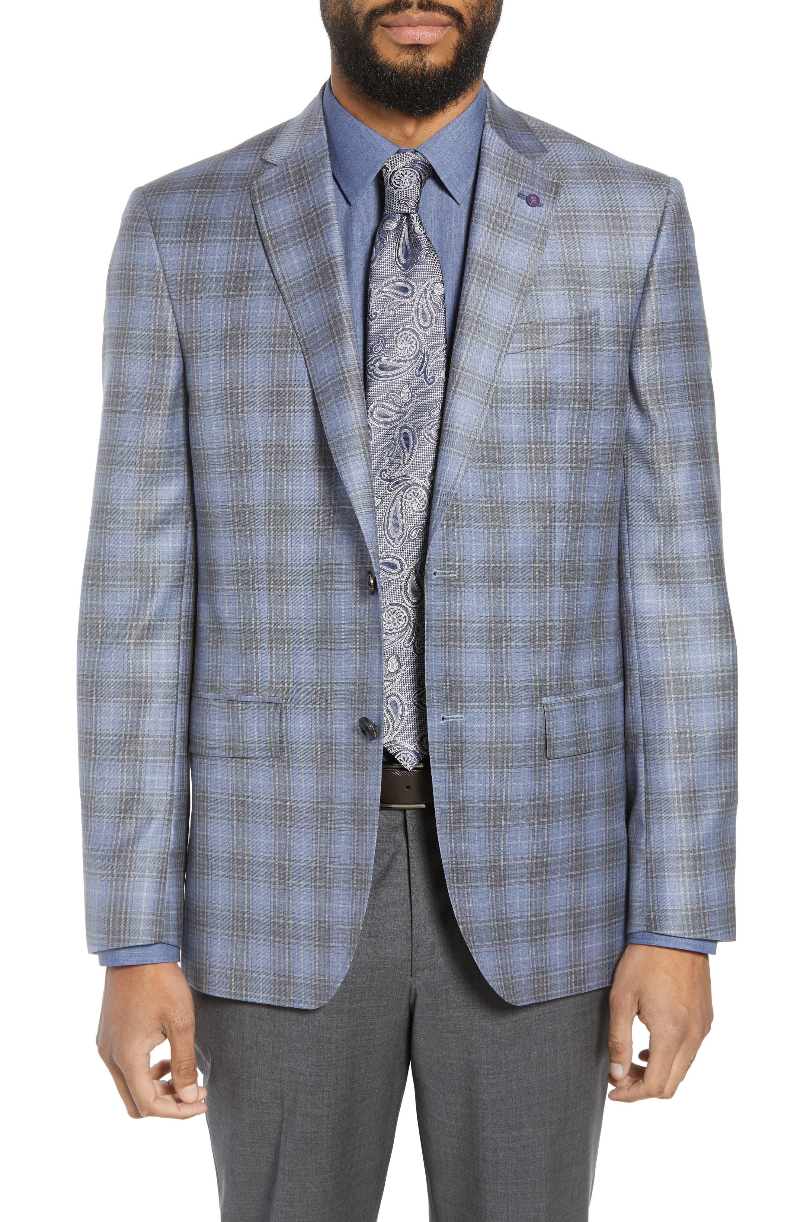 Jay Trim Fit Plaid Wool Sport Coat,                         Main,                         color, Light Blue