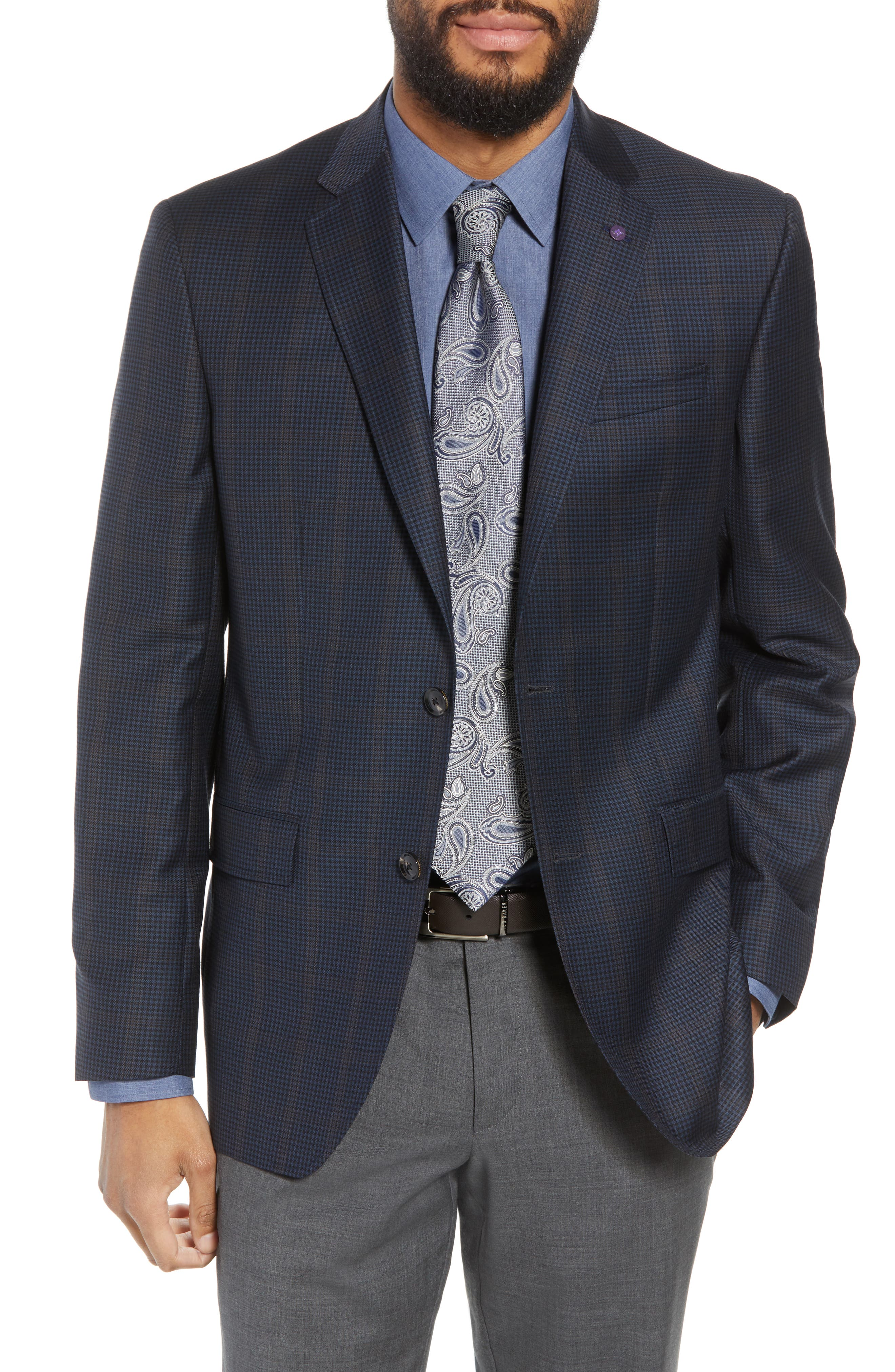 Jay Trim Fit Houndstooth Wool Sport Coat,                         Main,                         color, Blue
