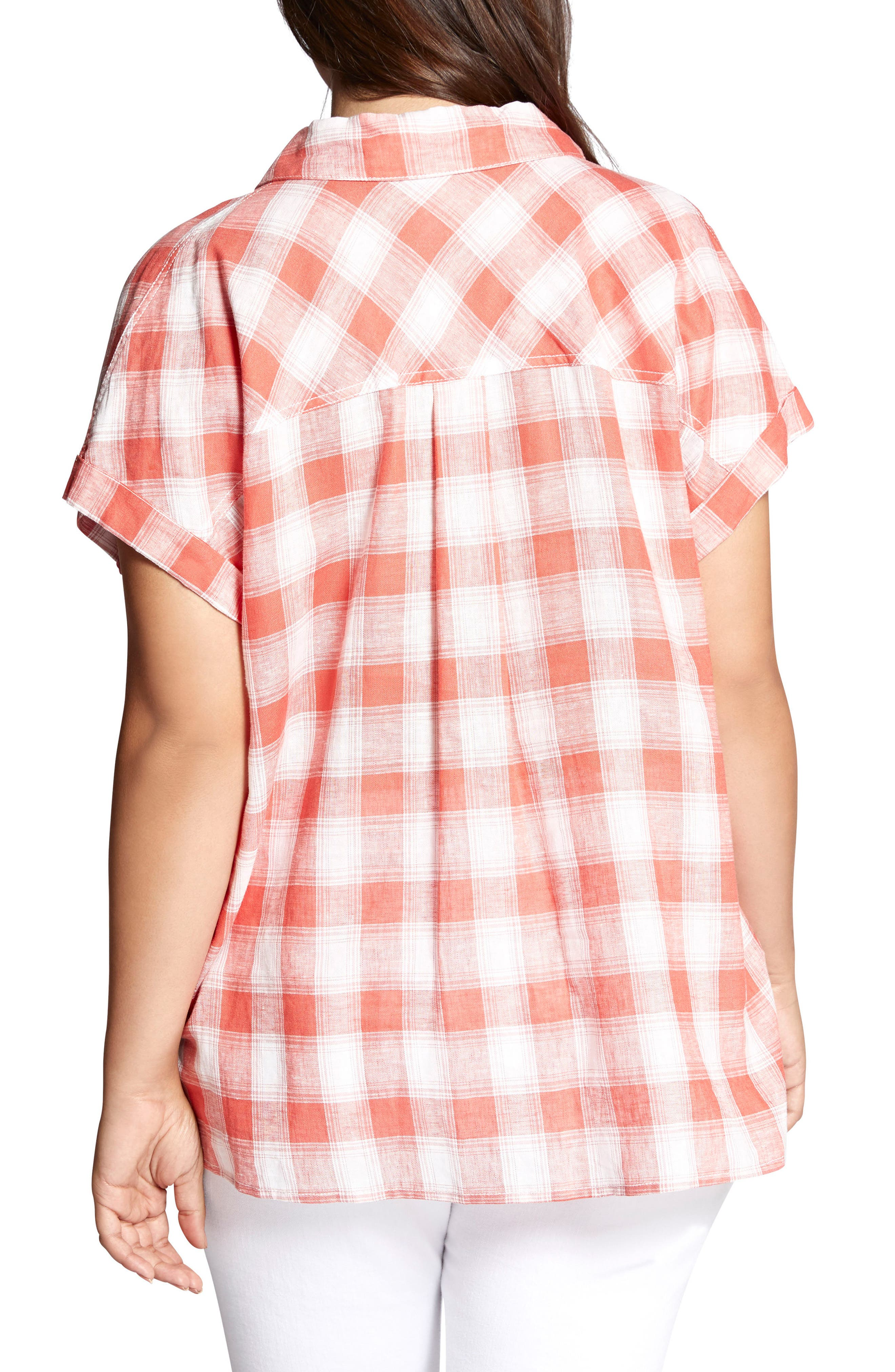 Mod Check Boyfriend Shirt,                             Alternate thumbnail 2, color,                             Chili Plaid