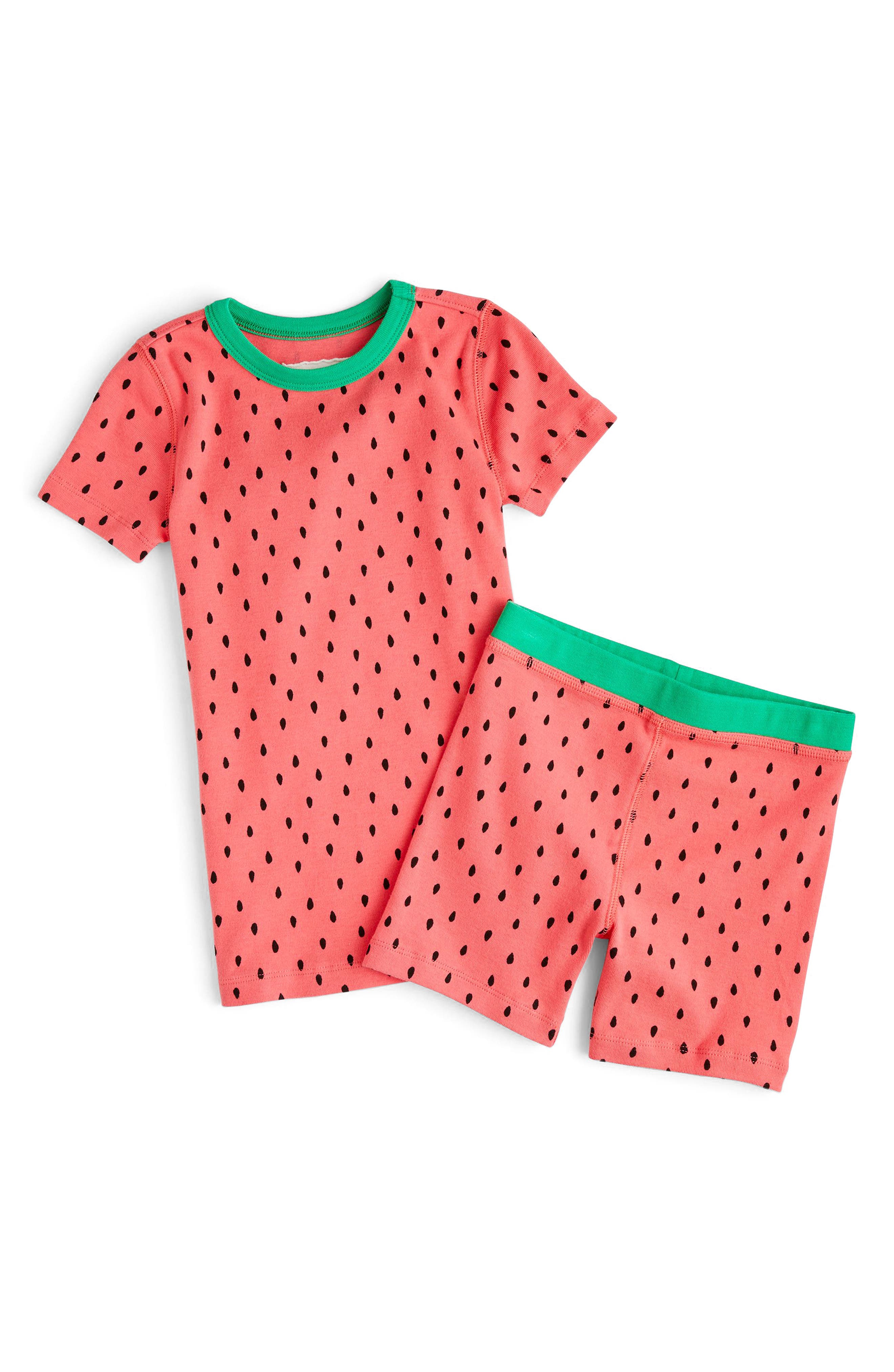 crewcuts by J. Crew Watermelon Print Fitted Two-Piece Pajamas (Toddler Girls, Little Girls & Big Girls)
