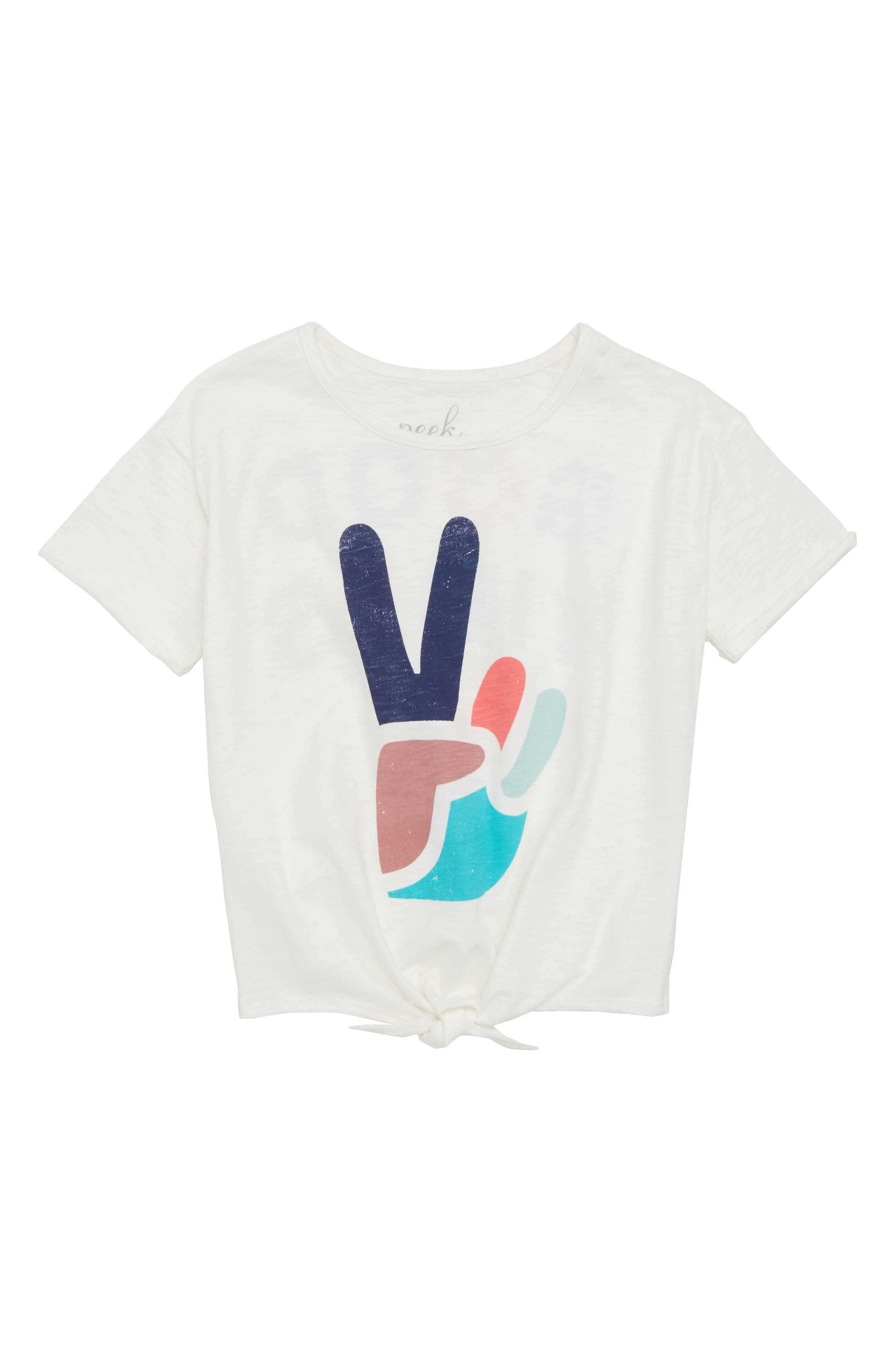 Peace Sign Graphic Tee,                         Main,                         color, Ivory