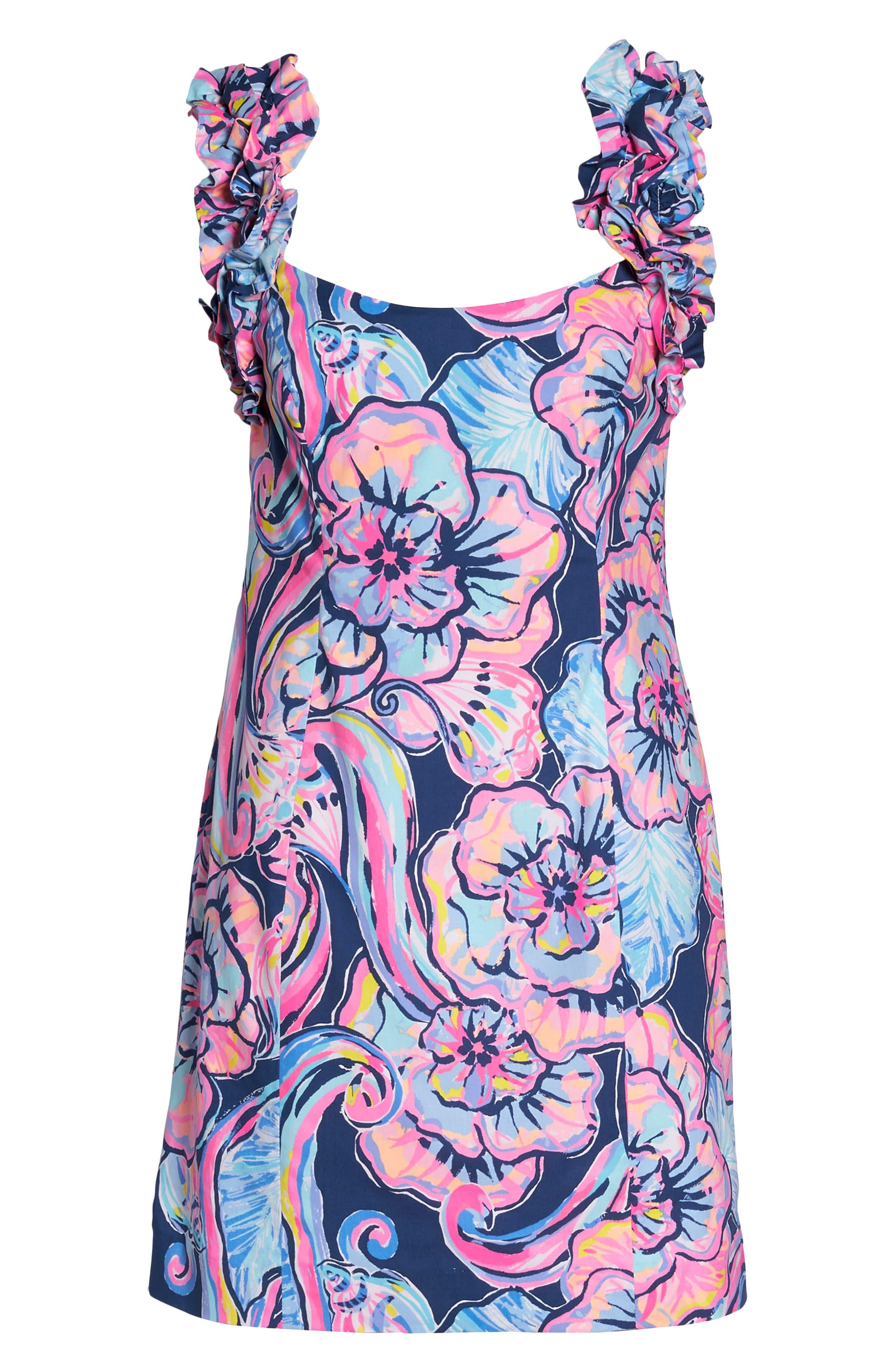 Devina Ruffle Strap Dress,                             Alternate thumbnail 6, color,                             Nautical Navy