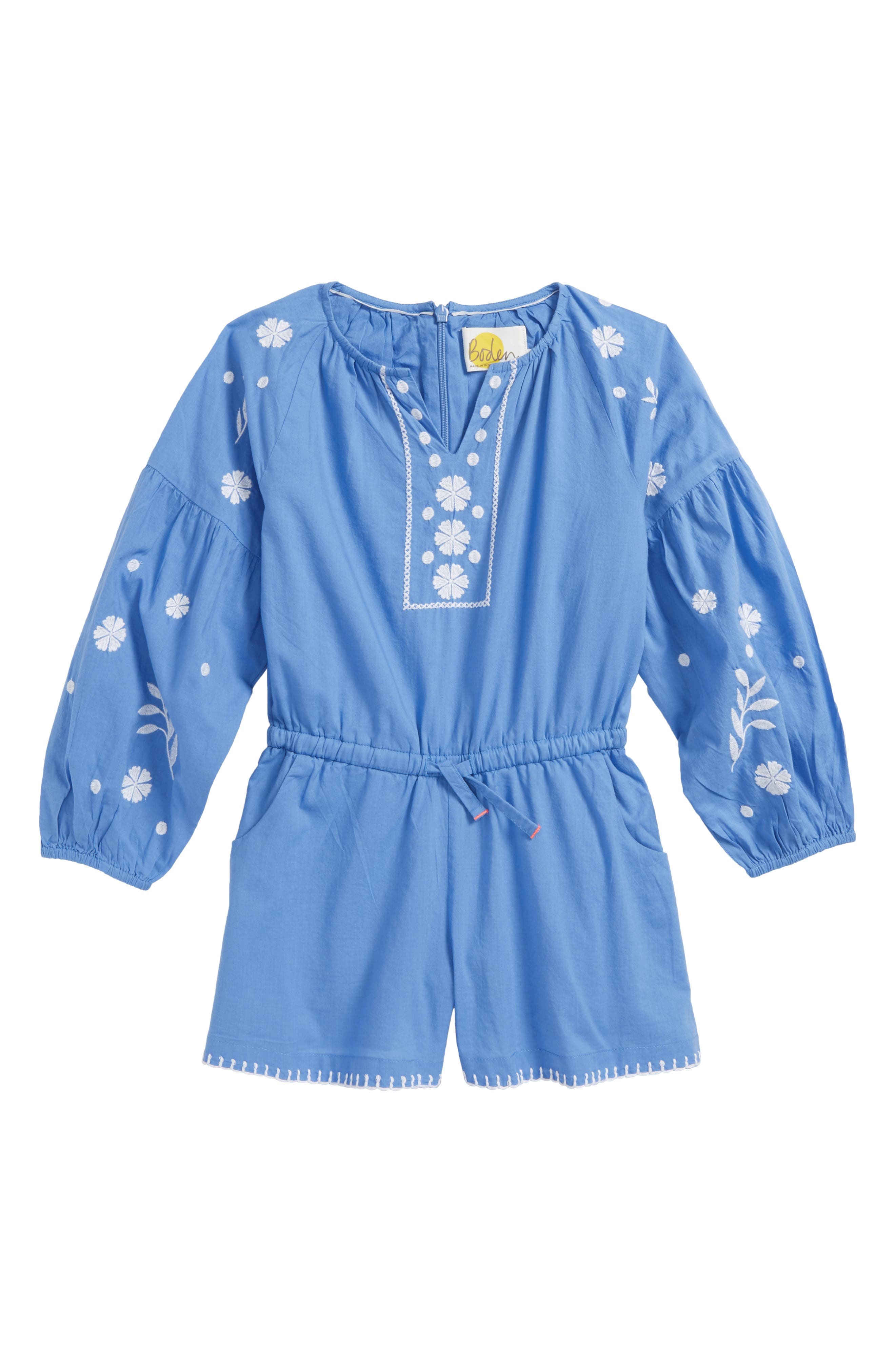Embroidered Romper,                             Main thumbnail 1, color,                             Penzance Blue