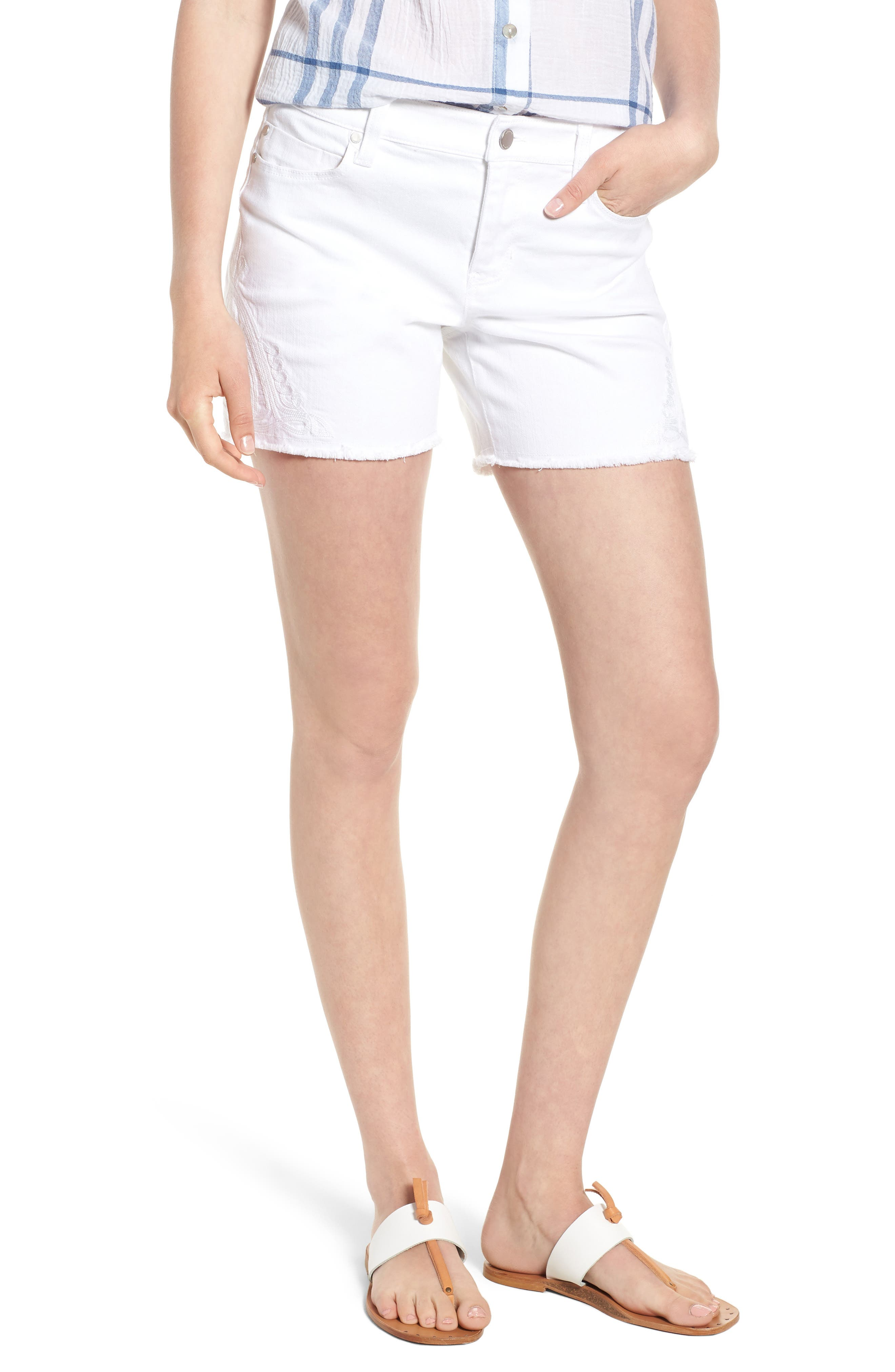 Embroidered Side Slit Shorts,                             Main thumbnail 1, color,                             Bright White