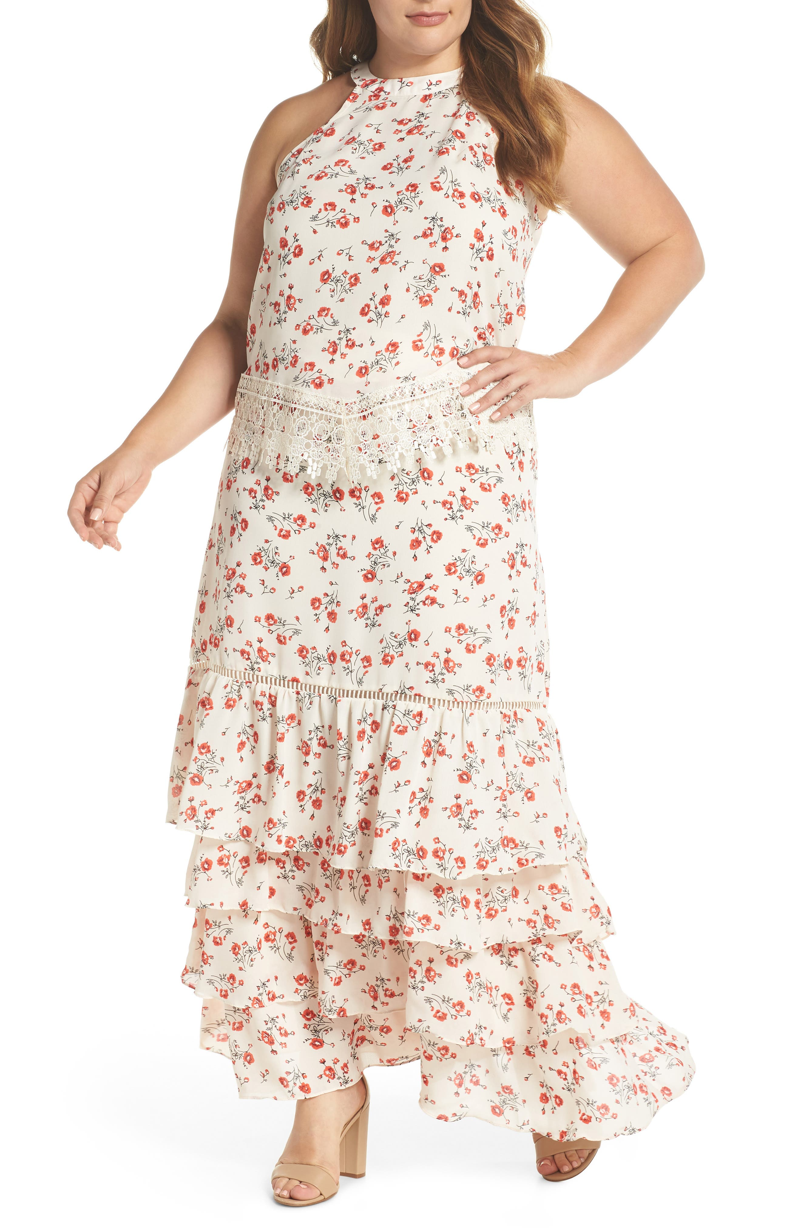 Glamorous Floral & Lace Tiered Two-Piece Dress (Plus Size)