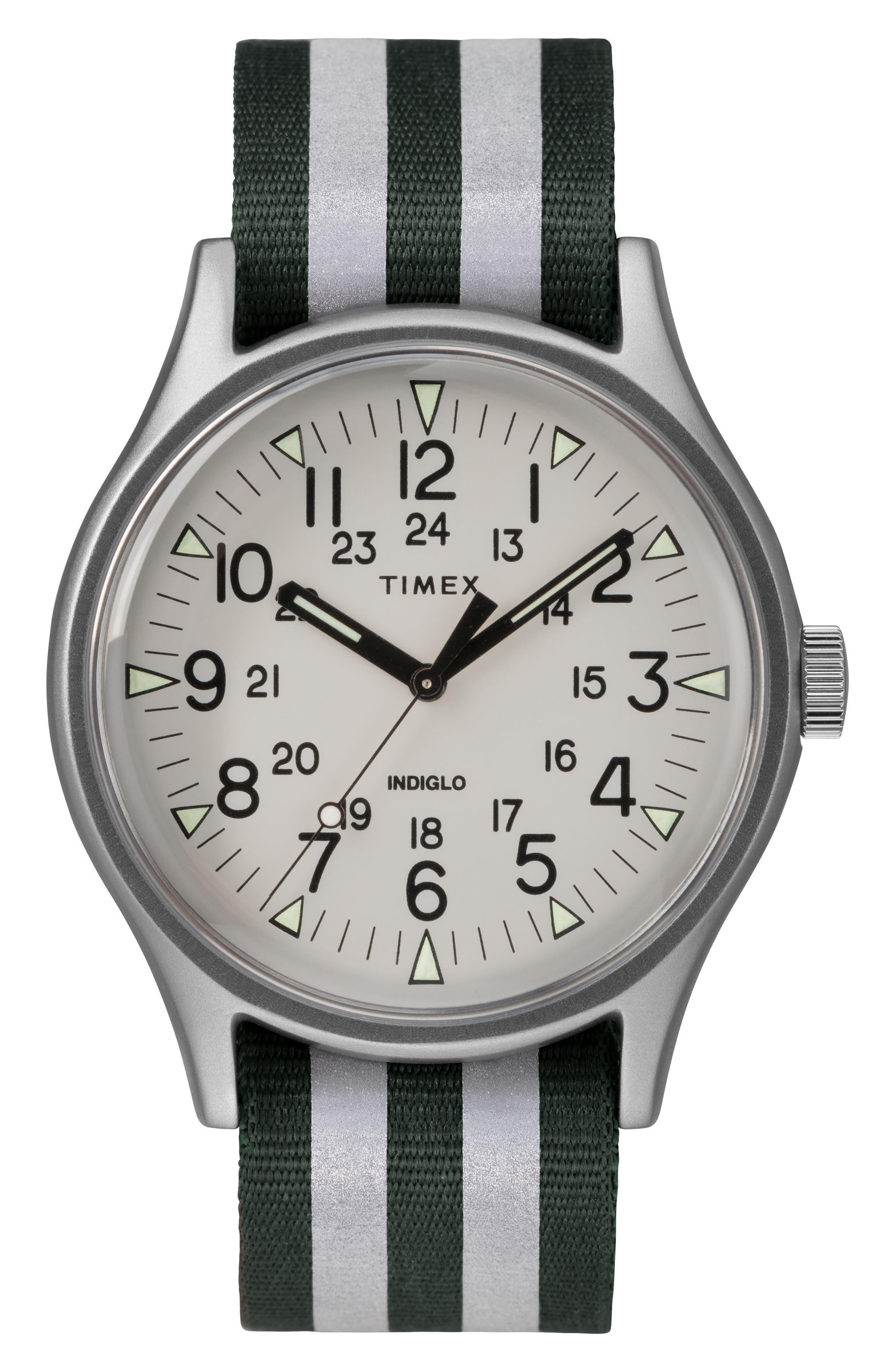 MK1 Nylon Strap Watch, 40mm,                         Main,                         color, Olive/ White/ Silver