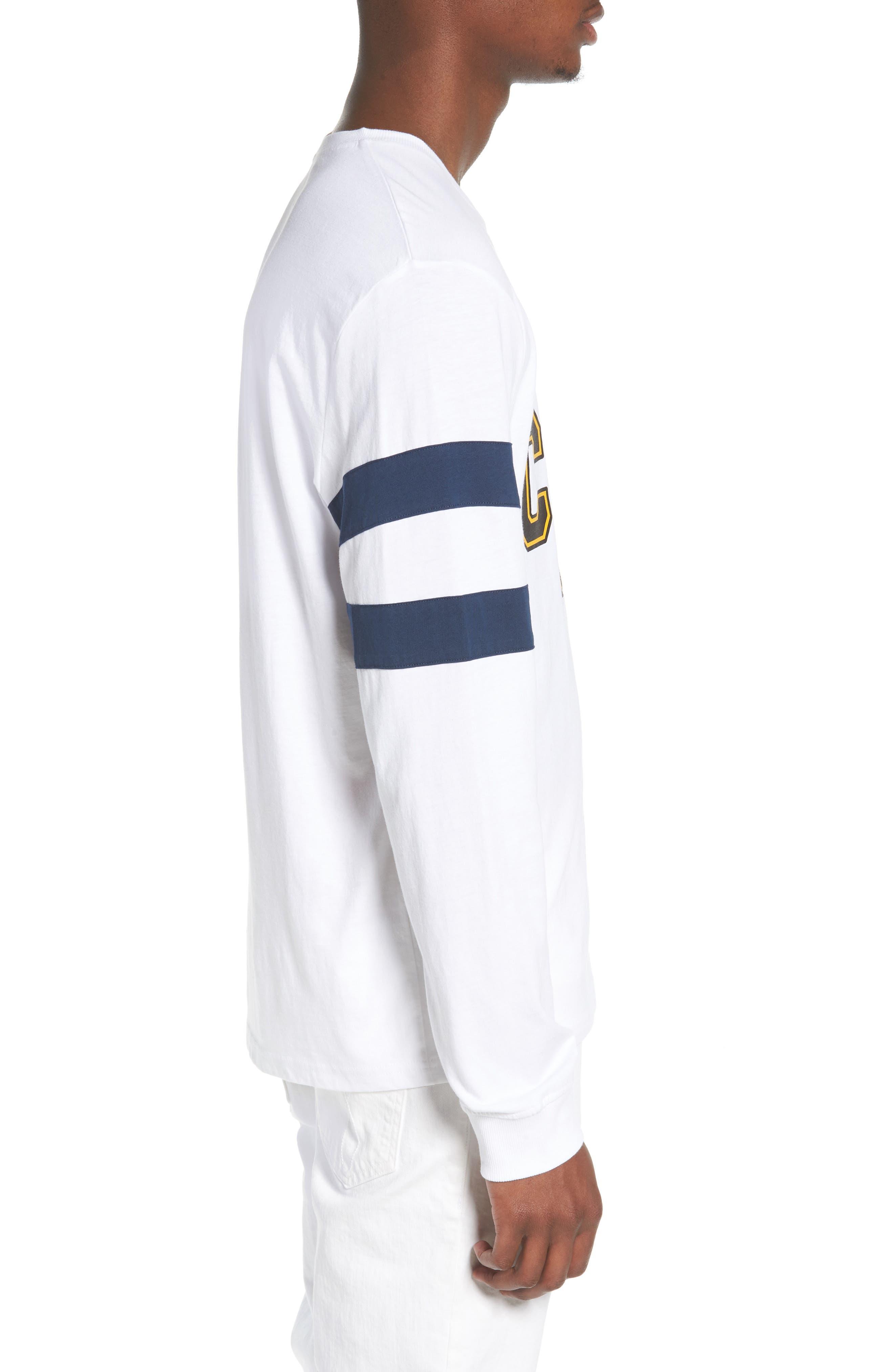 Stripe Sleeve Logo T-Shirt,                             Alternate thumbnail 3, color,                             Standard White