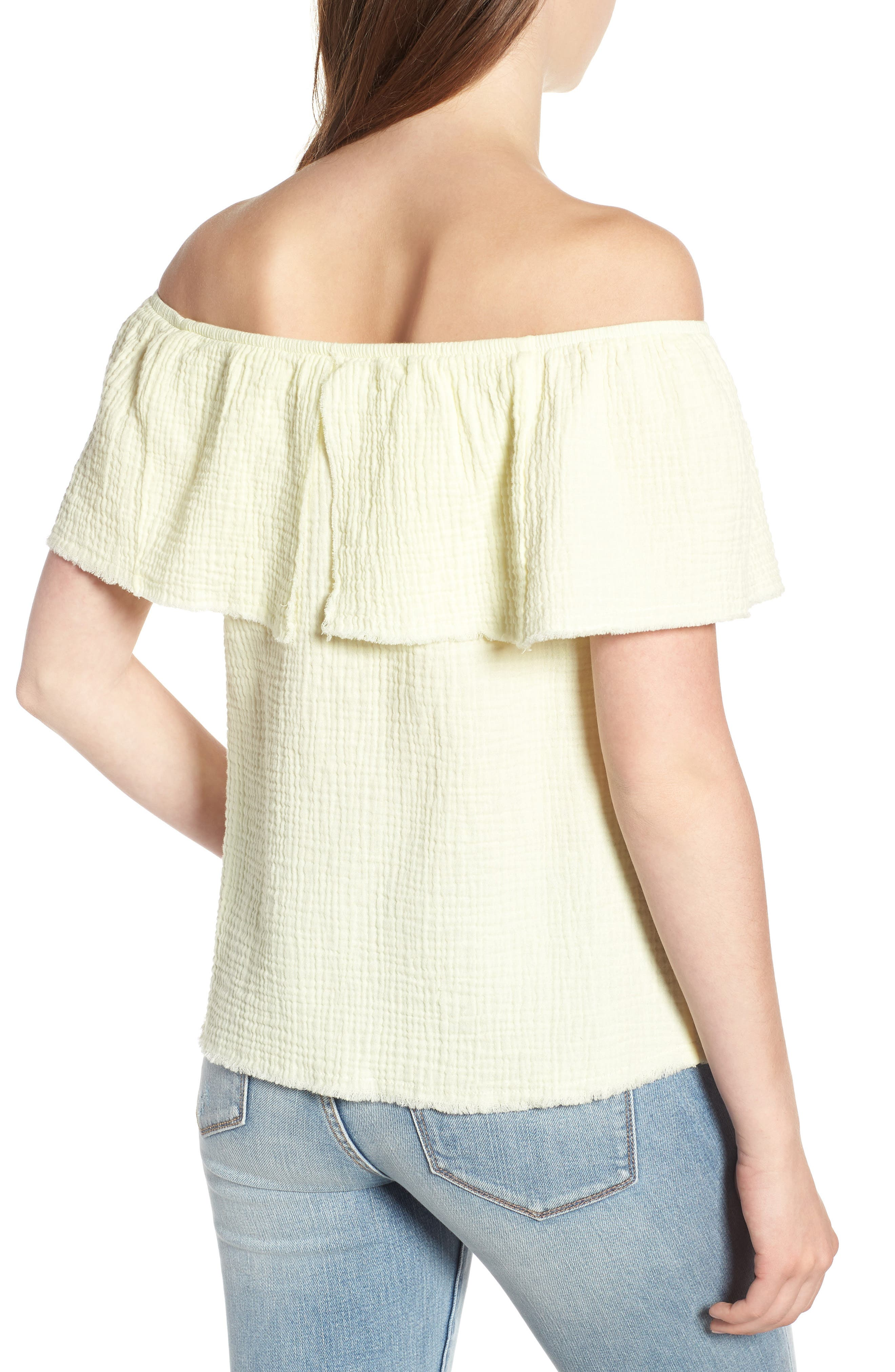 Ruffle Off the Shoulder Top,                             Alternate thumbnail 2, color,                             Yellow