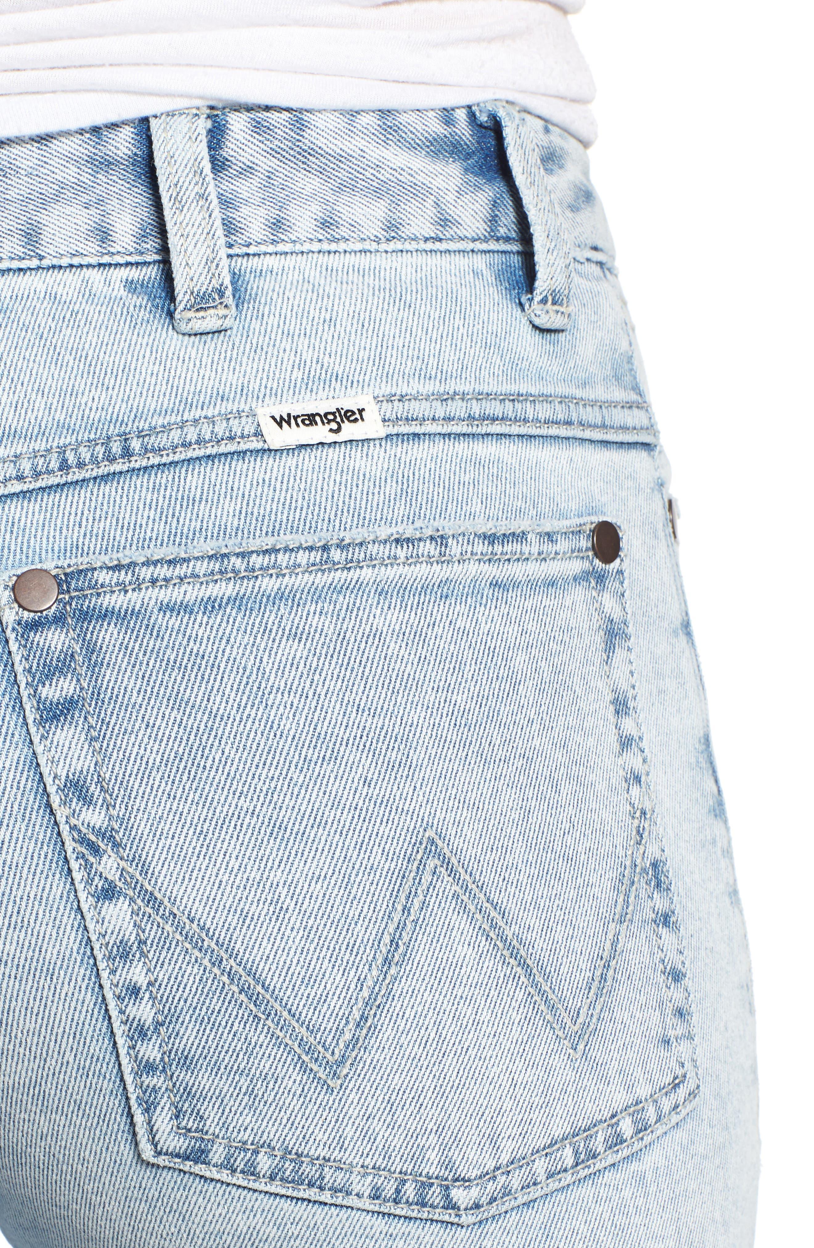 Acid Wash High Waist Crop Jeans,                             Alternate thumbnail 4, color,                             Light Acid