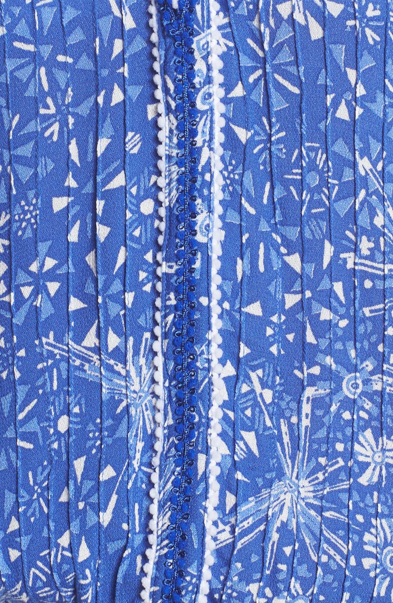 Poupette St. Barth Nola Cover-Up Romper,                             Alternate thumbnail 5, color,                             Blue Geo Batik