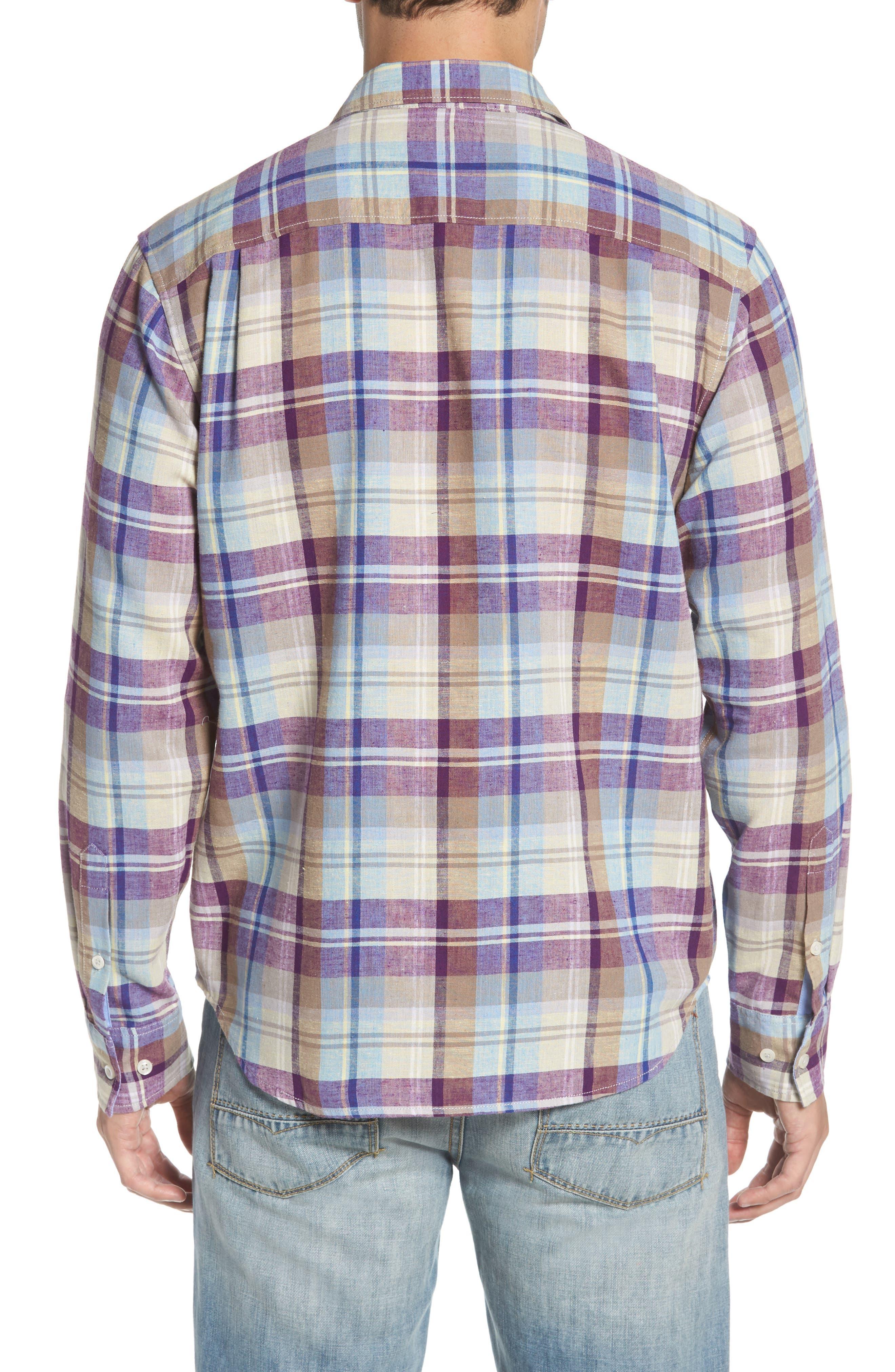 La Paz Plaid Linen Blend Sport Shirt,                             Alternate thumbnail 3, color,                             Sparkling Grape