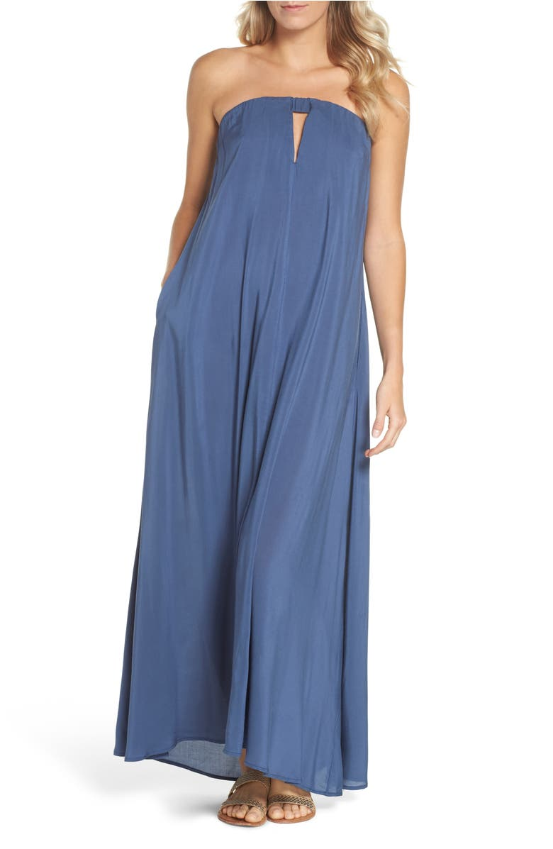 Elan STRAPLESS KEYHOLE COVER-UP MAXI DRESS