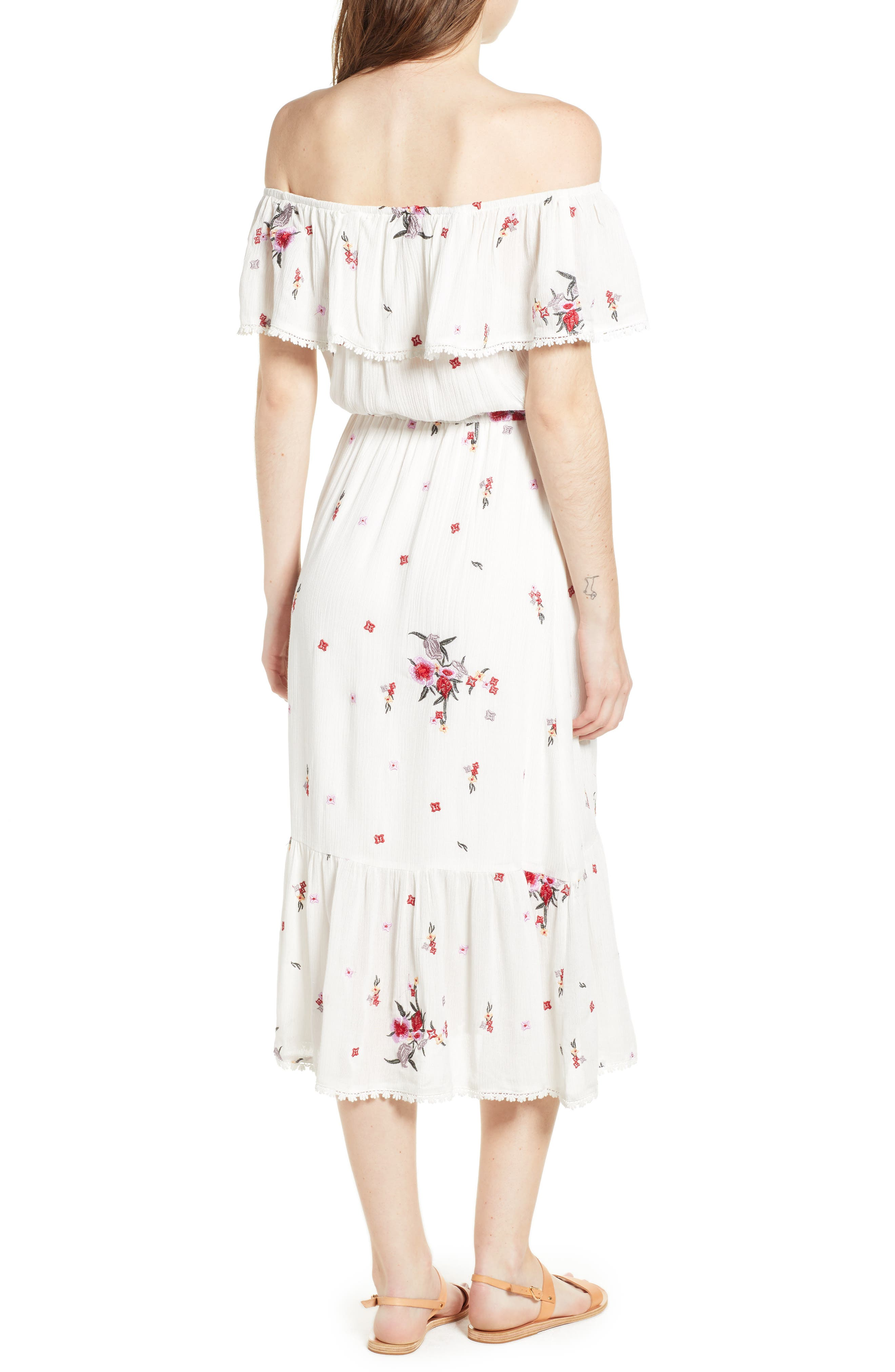 Senorita Embroidered Off the Shoulder Midi Dress,                             Alternate thumbnail 3, color,                             White Floral