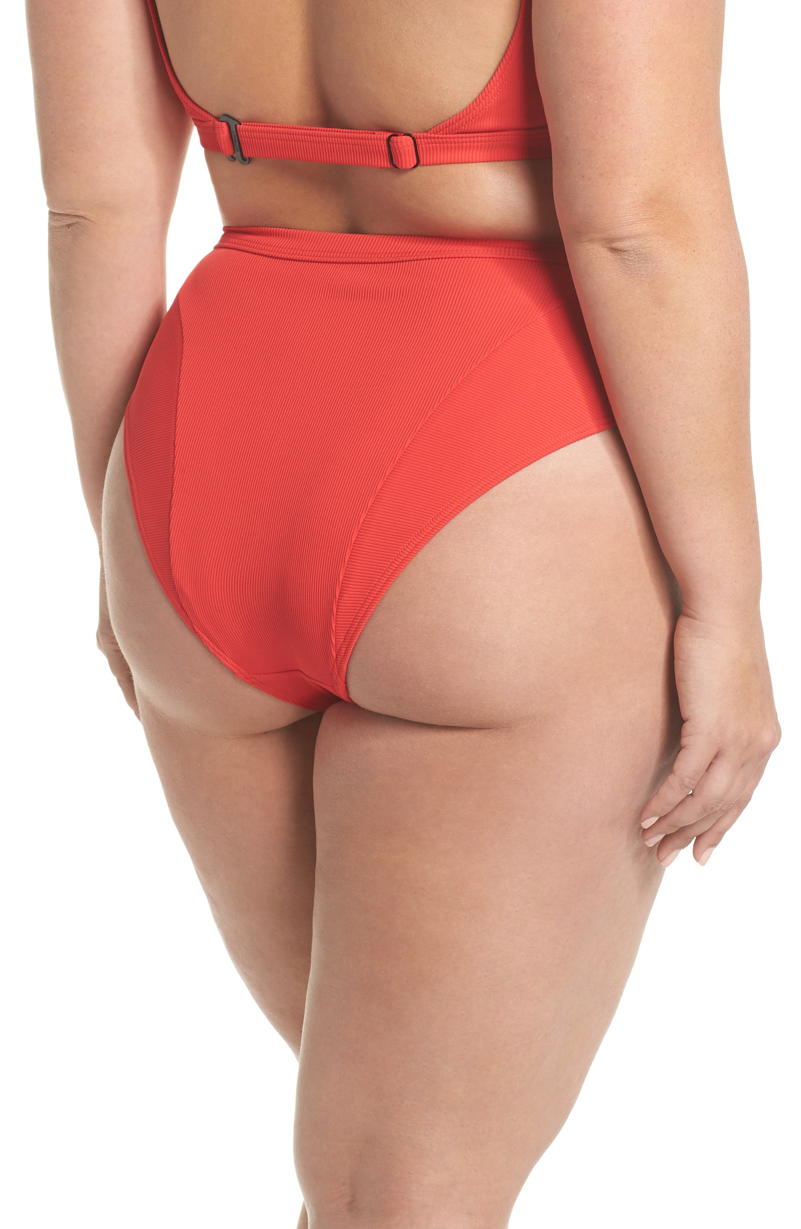 Ribbed Swim Bottoms,                             Alternate thumbnail 2, color,                             Red