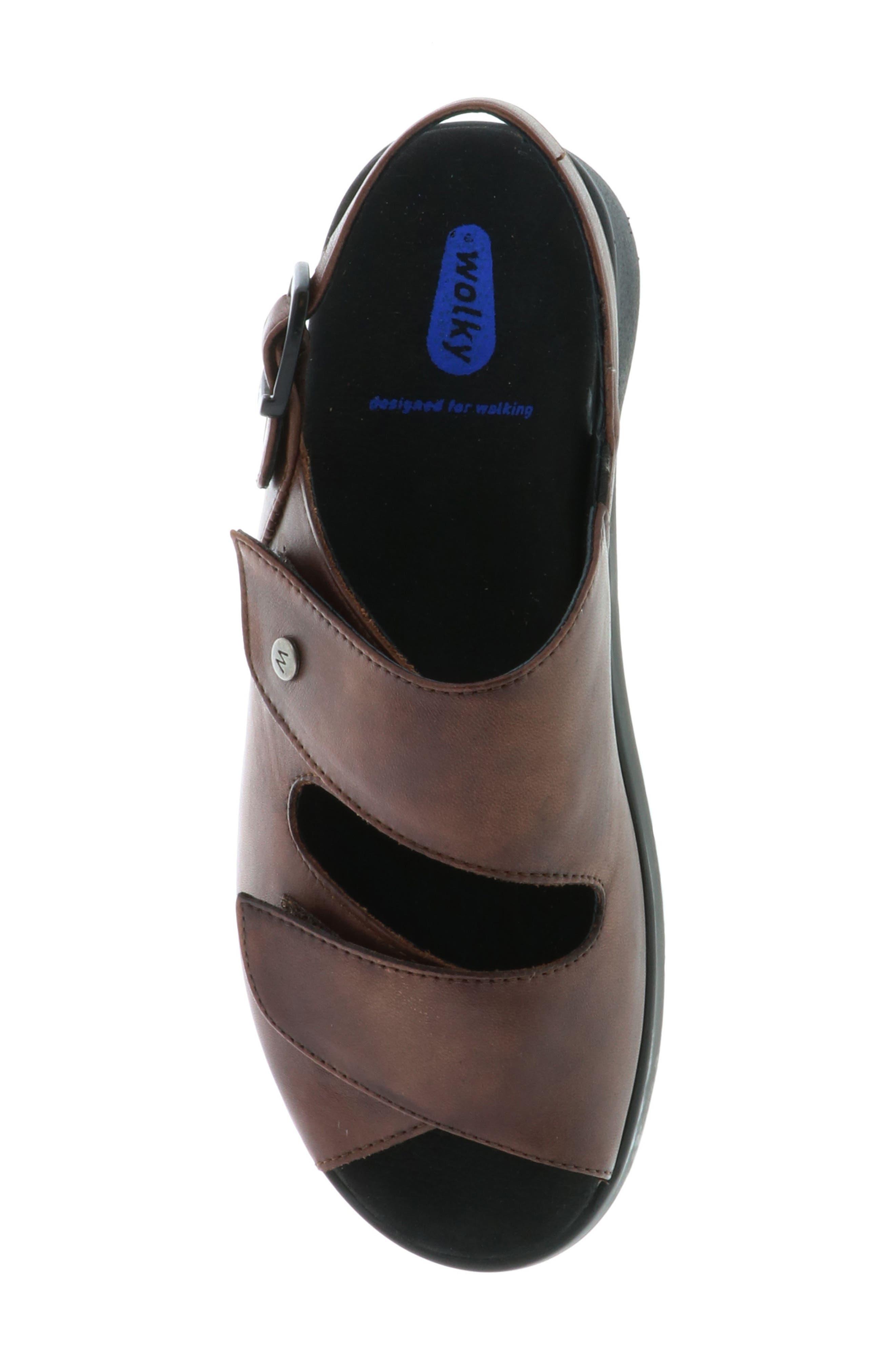 Nimes Sandal,                             Alternate thumbnail 5, color,                             Cognac Faux Leather