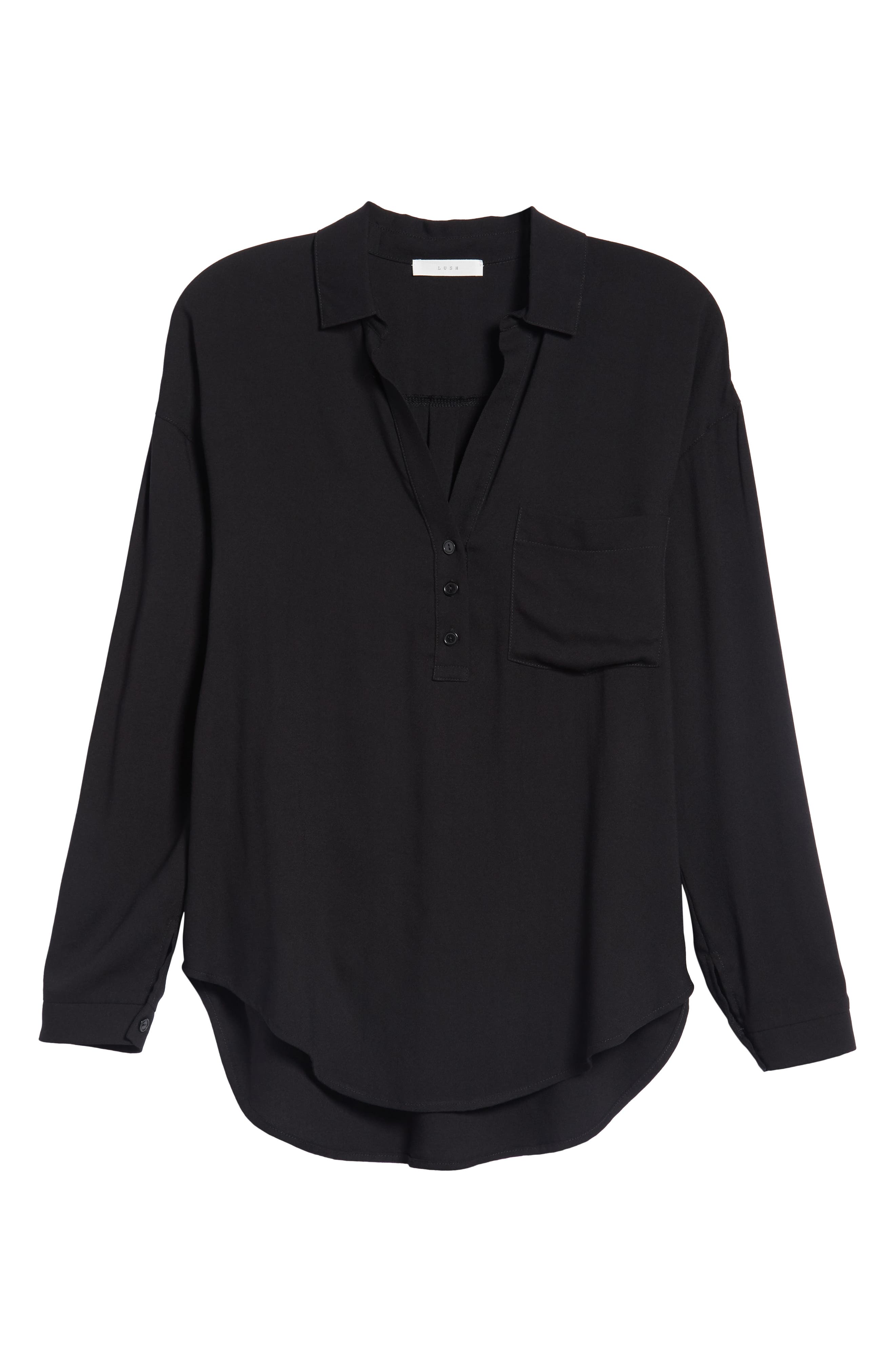 Slouchy Pocket Henley,                             Alternate thumbnail 6, color,                             Solid Black