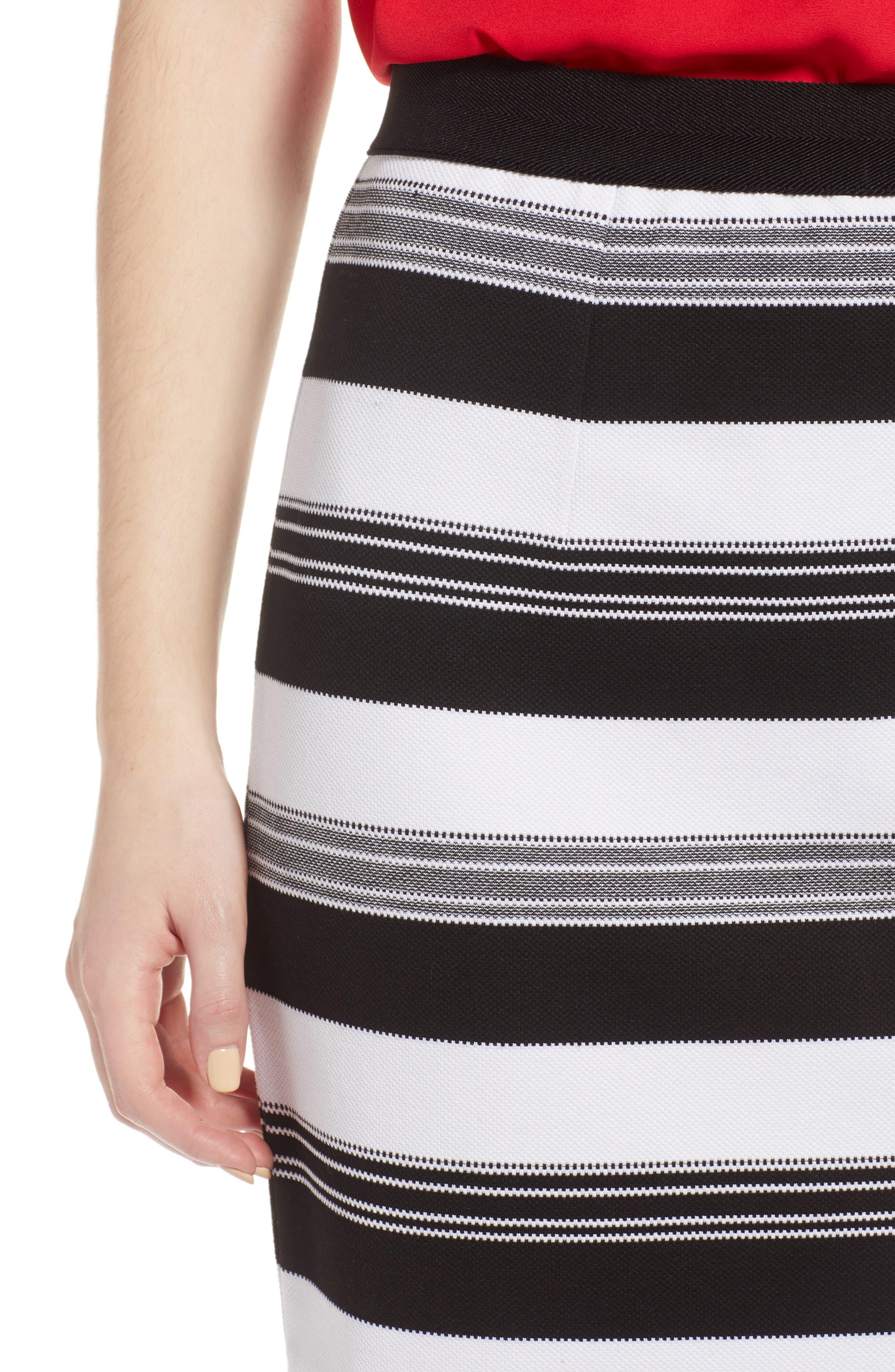 Knit Pencil Skirt,                             Alternate thumbnail 4, color,                             Black- Ivory Stripe