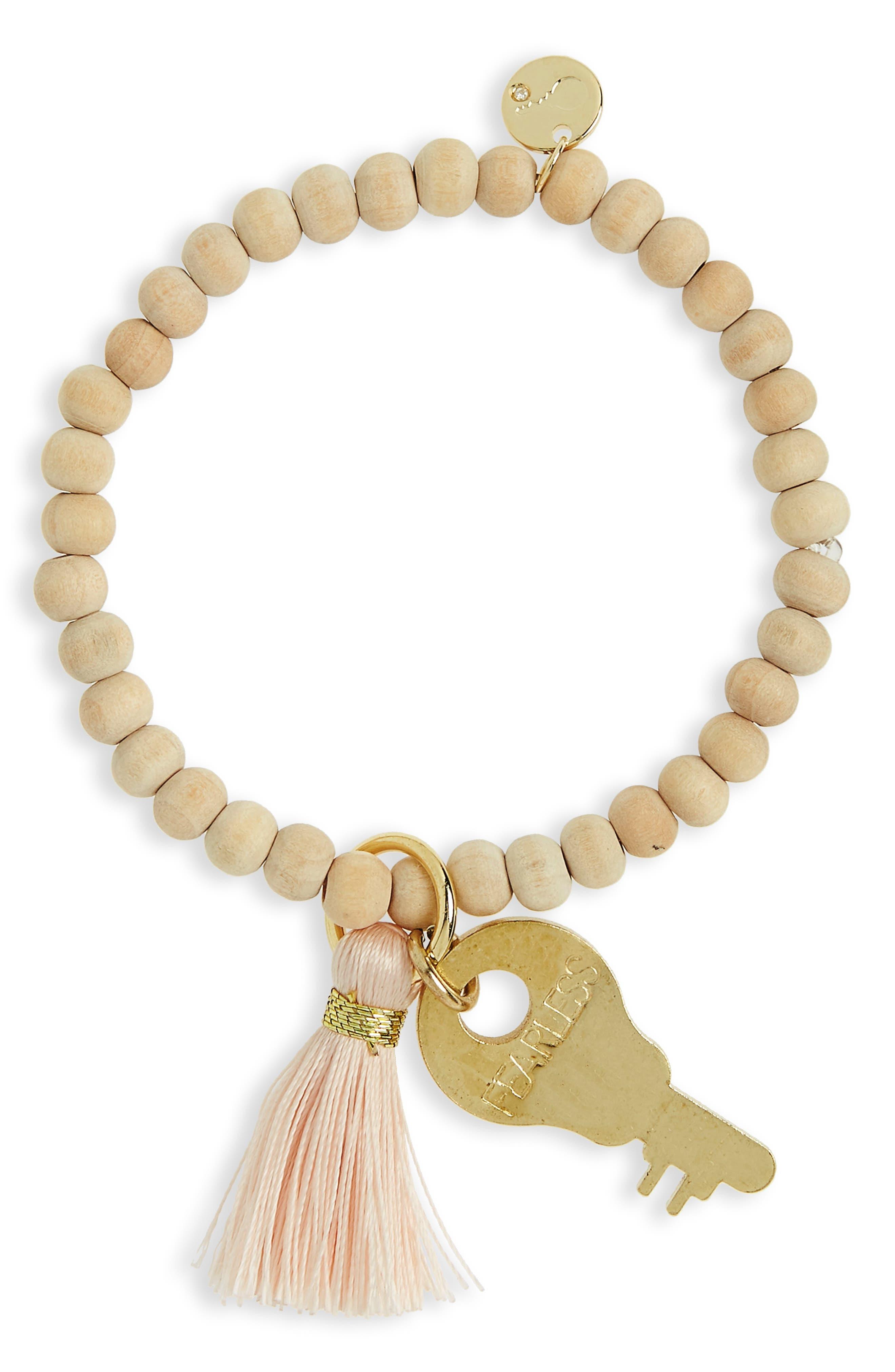 The Giving Keys Inspiration Key Charm & Tassel Beaded Bracelet