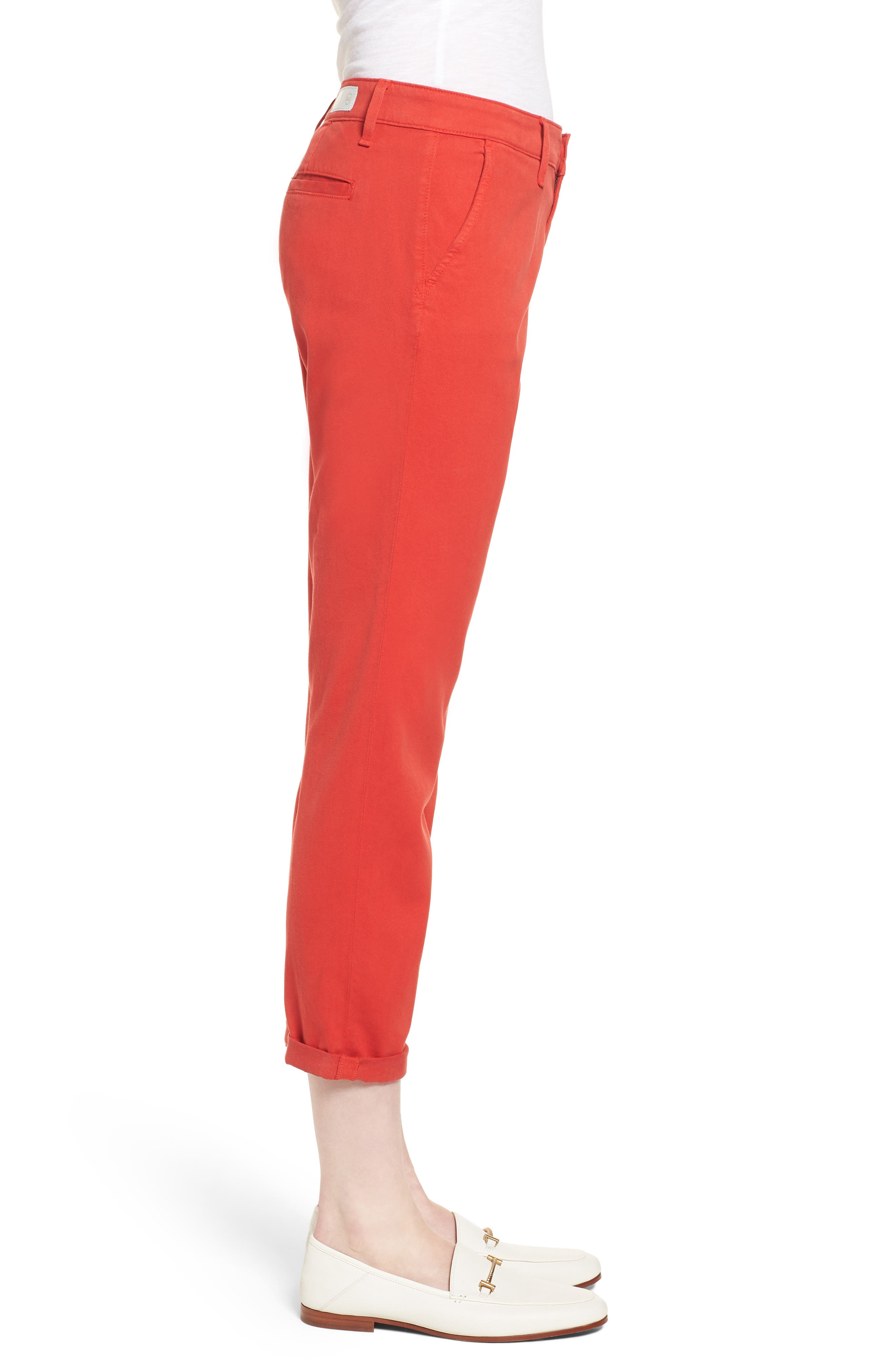 Caden Crop Twill Trousers,                             Alternate thumbnail 3, color,                             Red Poppy