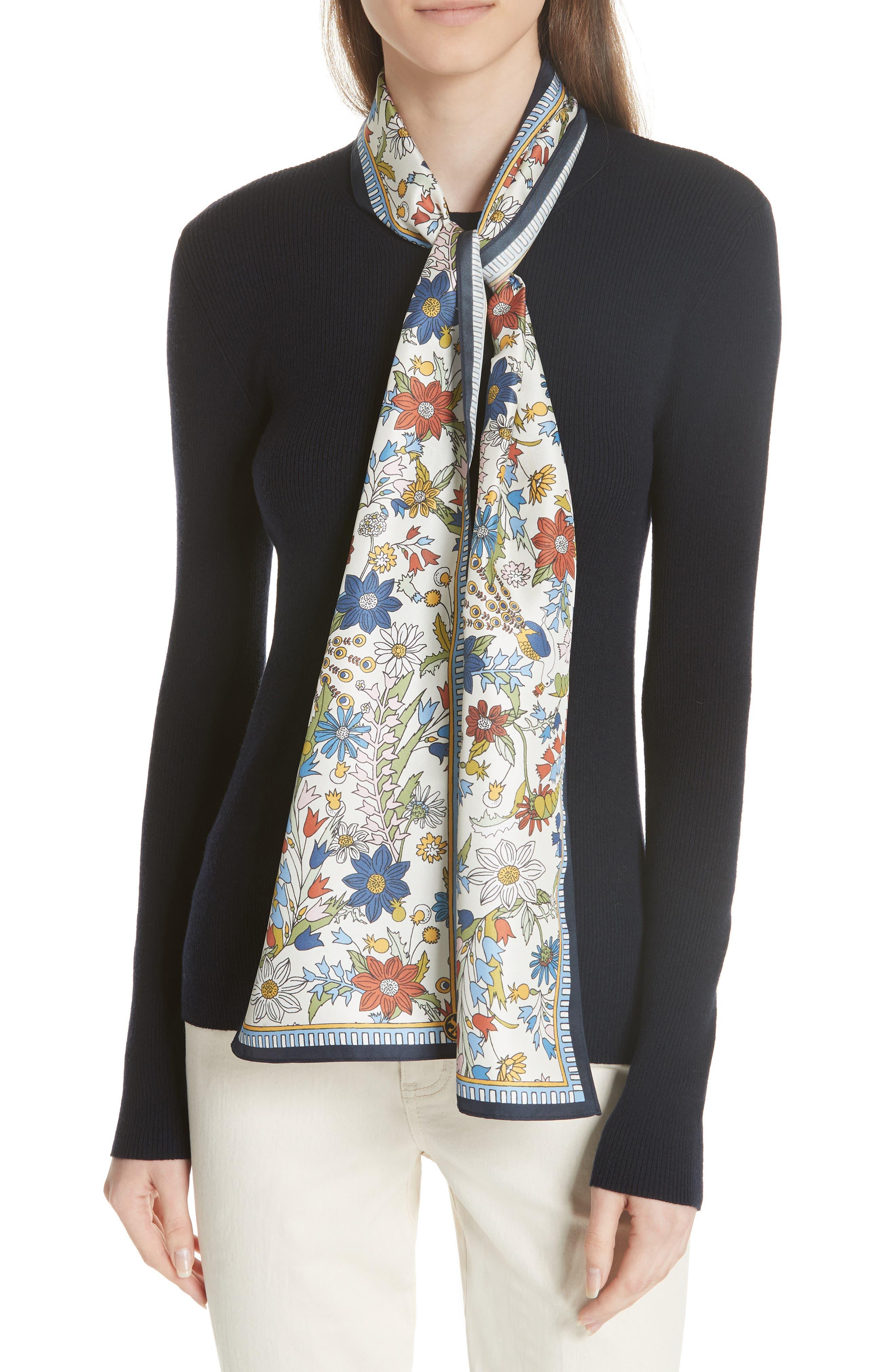 Laura Rib Knit Sweater & Silk Scarf,                             Main thumbnail 1, color,                             Tory Navy