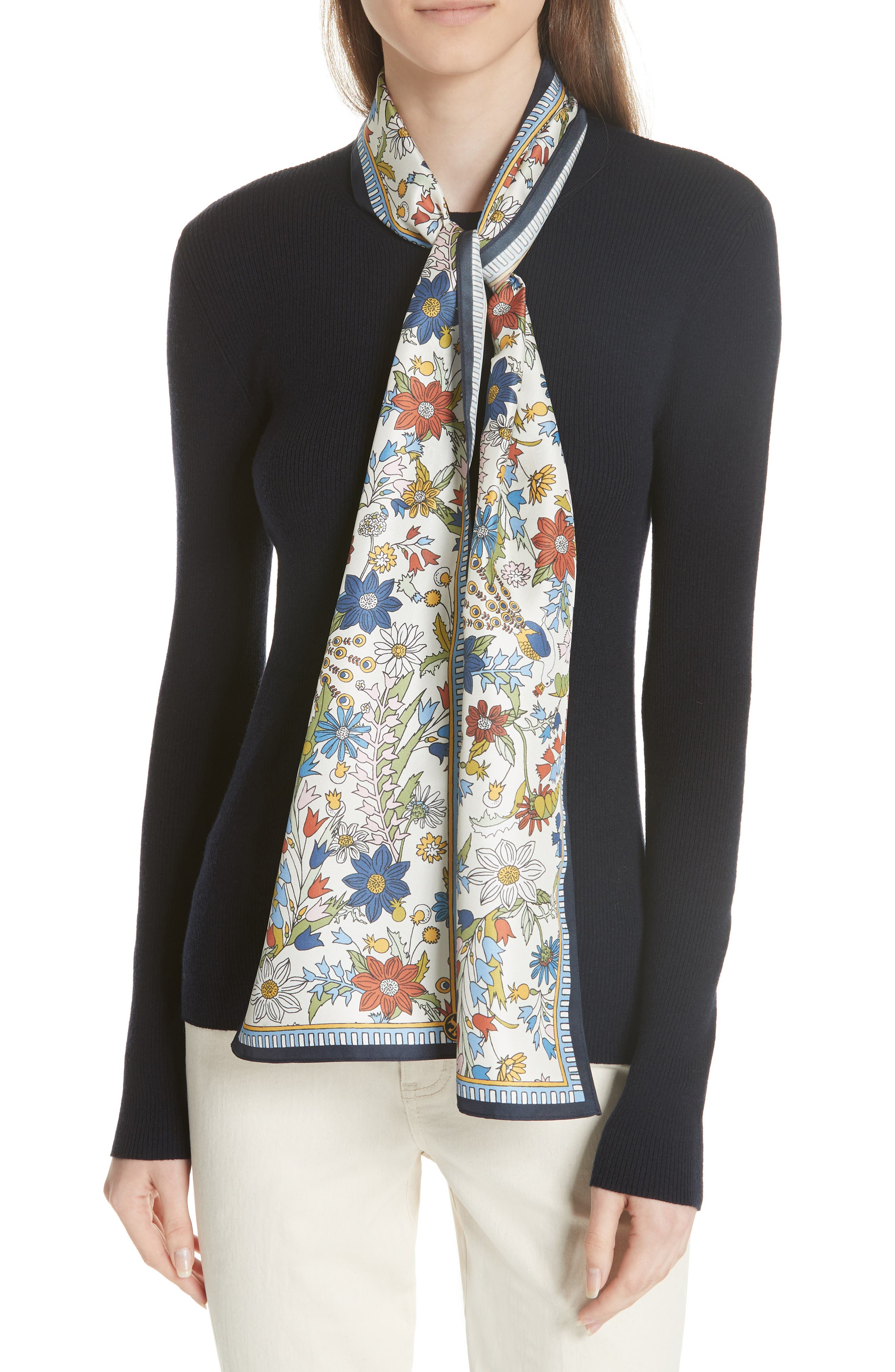 Laura Rib Knit Sweater & Silk Scarf,                         Main,                         color, Tory Navy