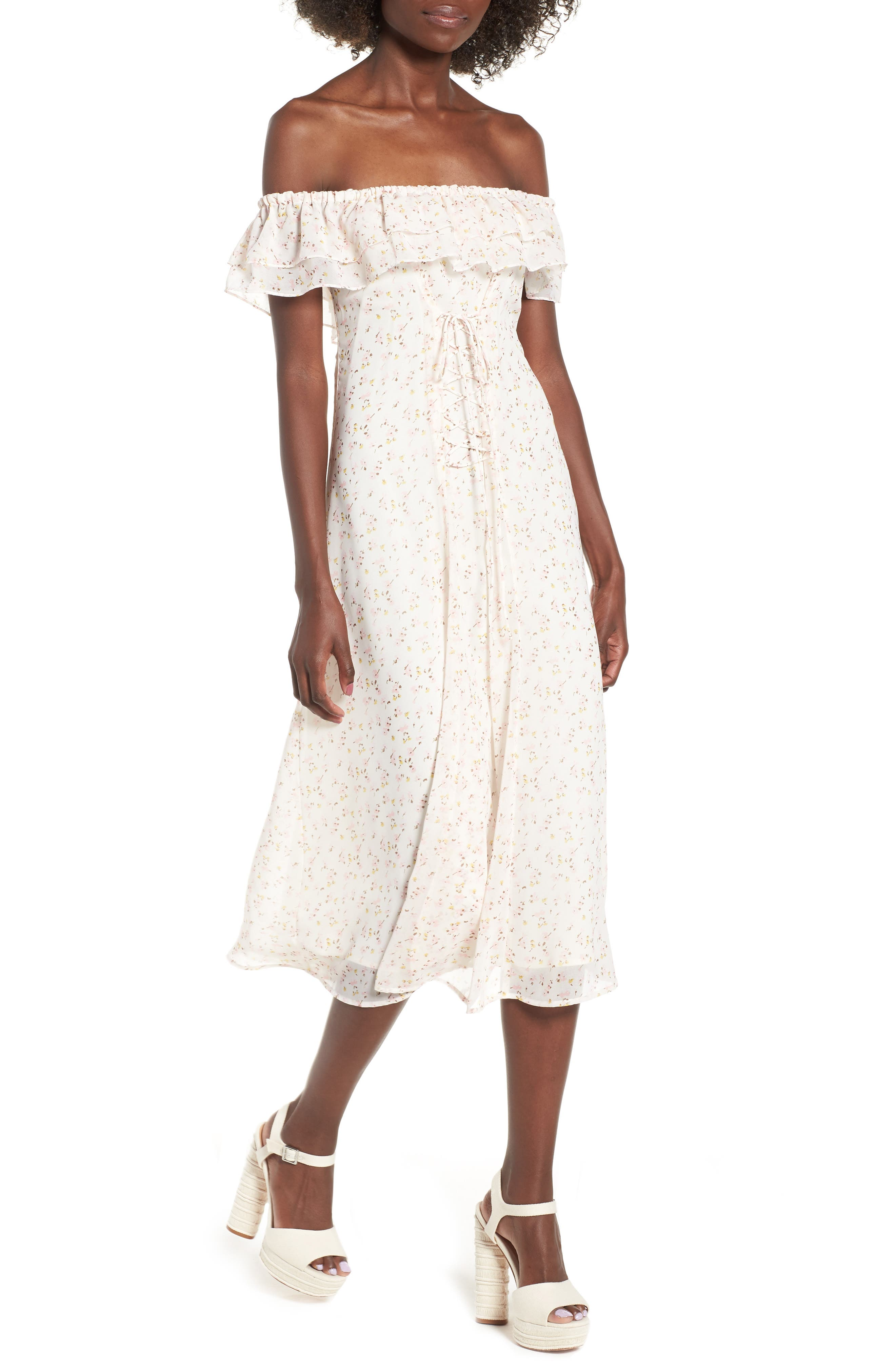 Florence Lace Off the Shoulder Midi Dress,                             Main thumbnail 1, color,                             Ivory Ditzy