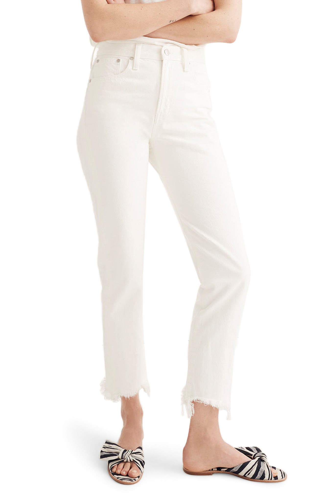 Perfect Summer High Waist Pieced Jeans,                             Main thumbnail 1, color,                             Tile White