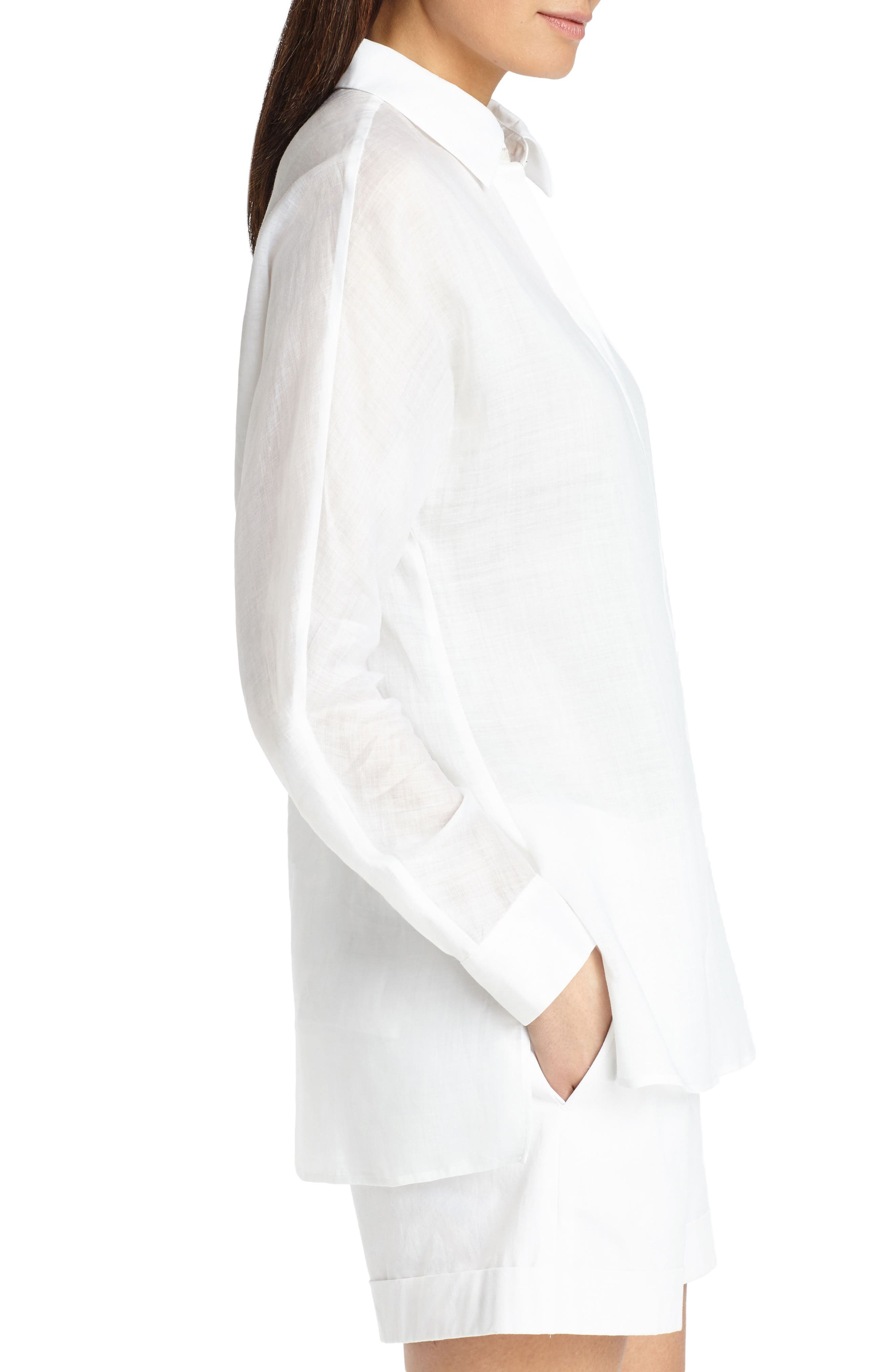 Alyssa Gemma Cloth Blouse,                             Alternate thumbnail 3, color,                             White
