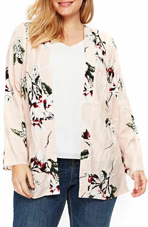 Evans Blush Floral Kimono Jacket (Plus Size)