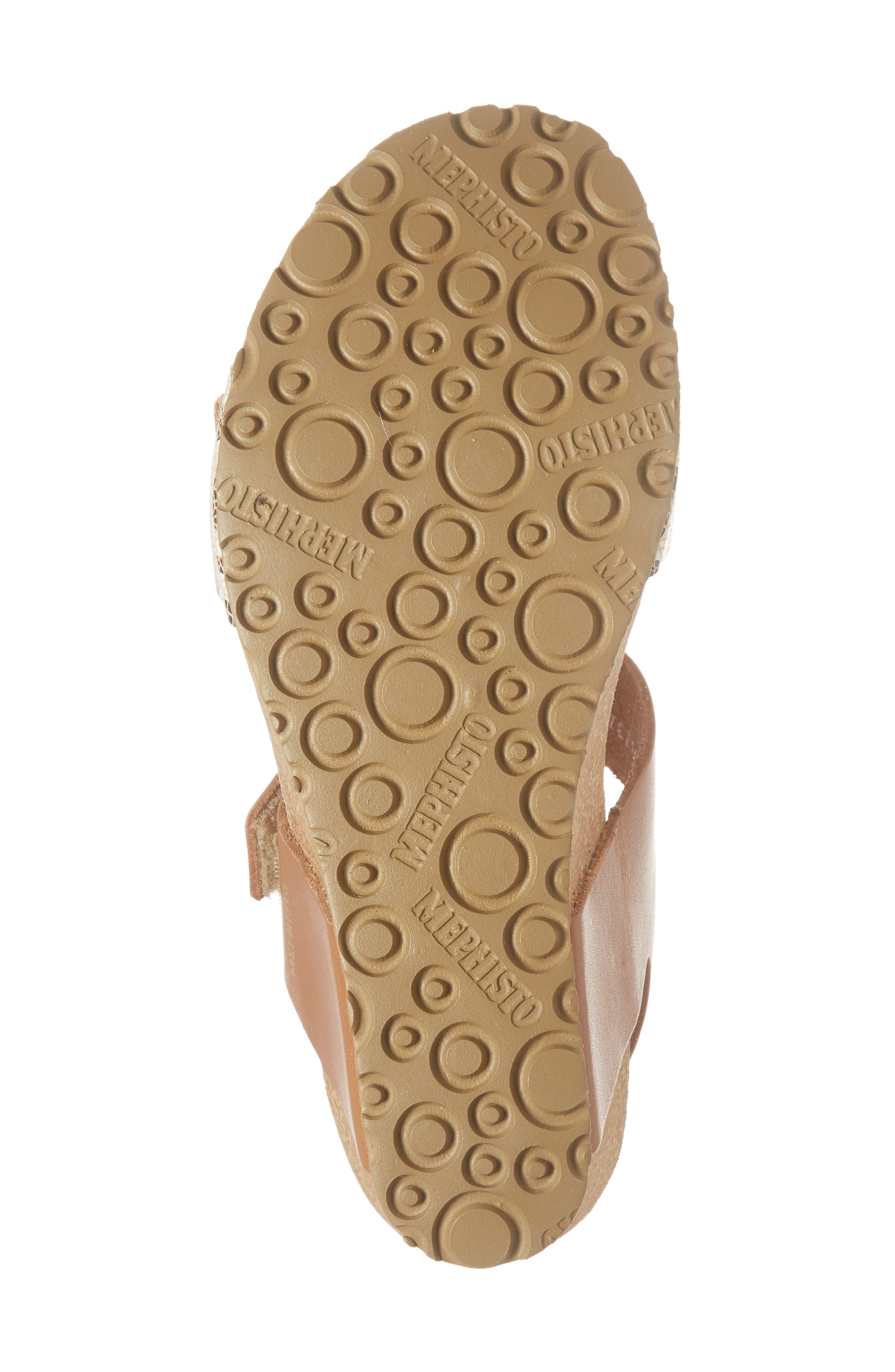 Lissandra Platform Wedge Sandal,                             Alternate thumbnail 6, color,                             Camel