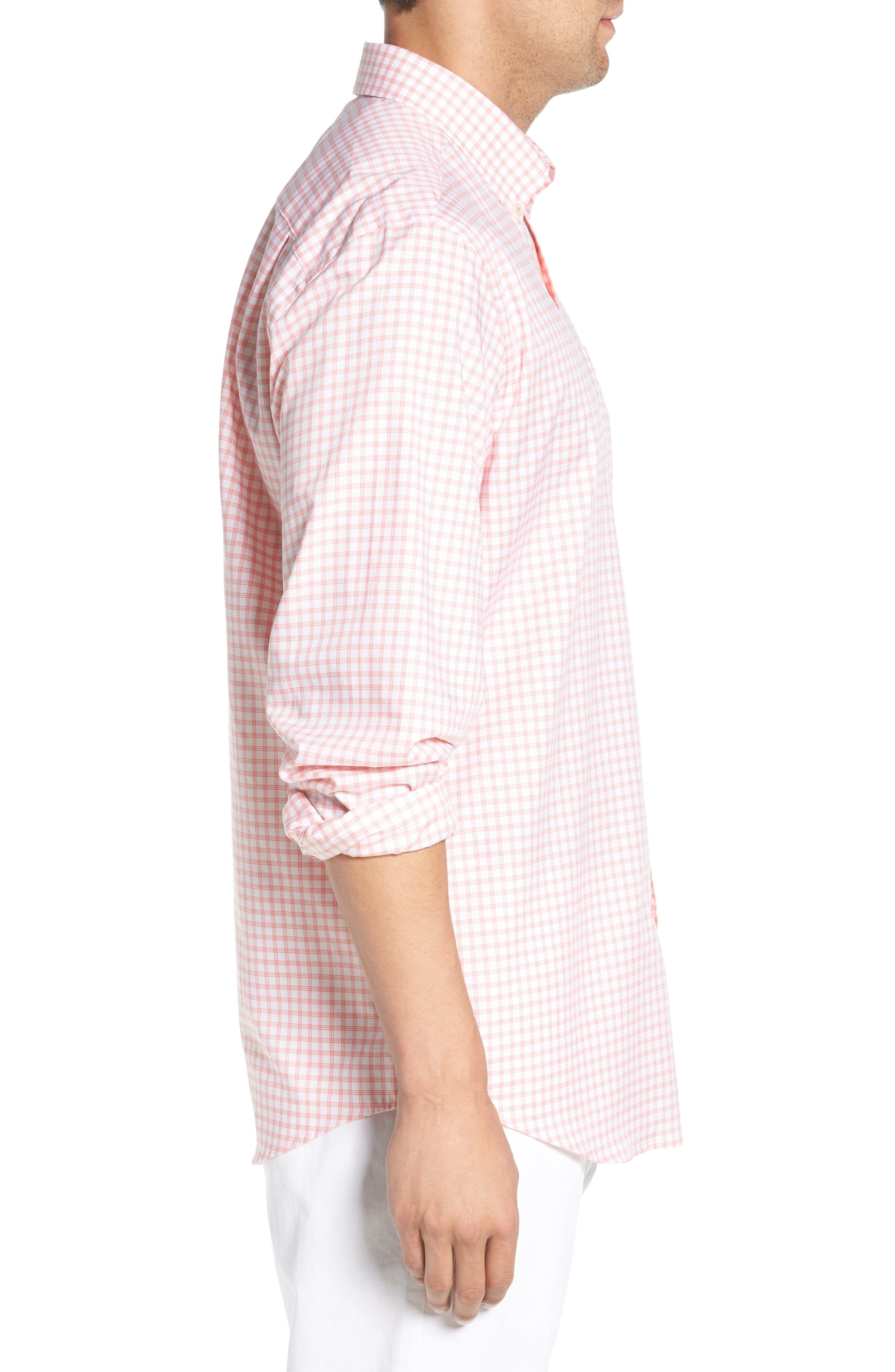 Like Oak Regular Fit Check Sport Shirt,                             Alternate thumbnail 4, color,                             Shell Pink