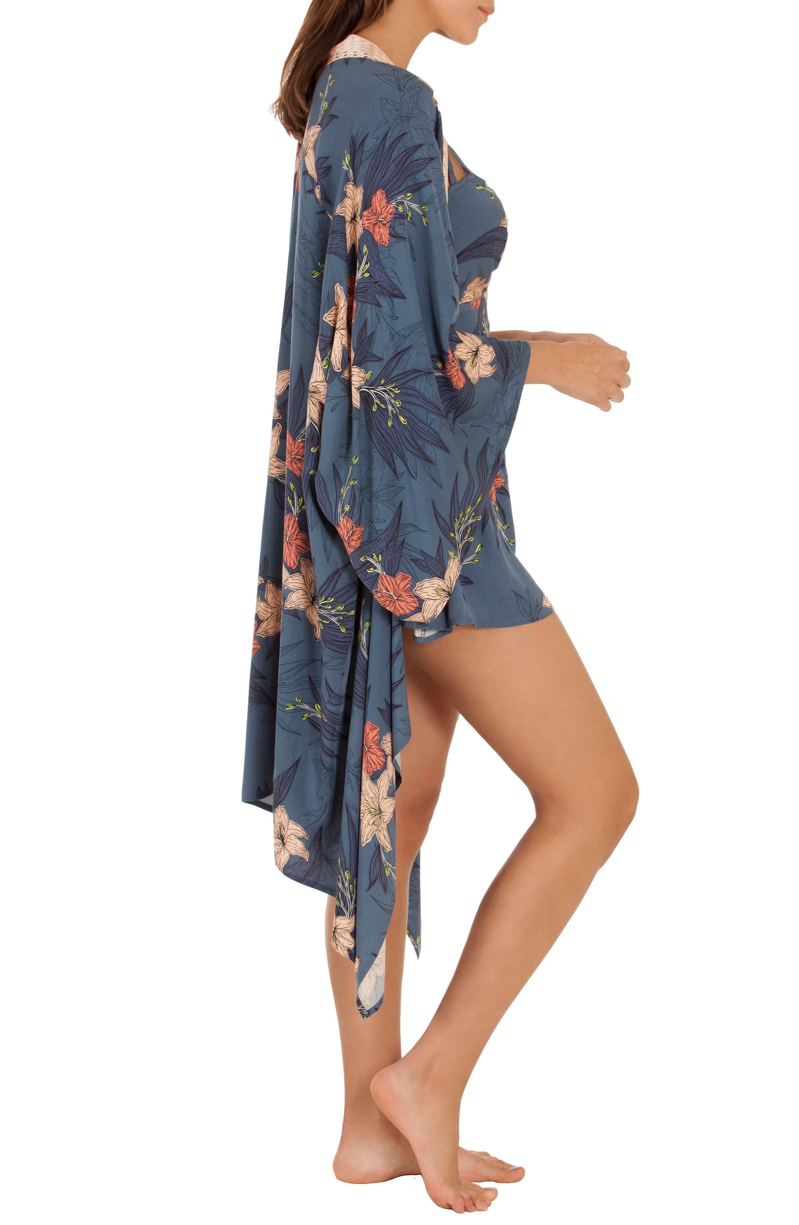 Floral Kimono Robe,                             Alternate thumbnail 3, color,                             Blue Floral